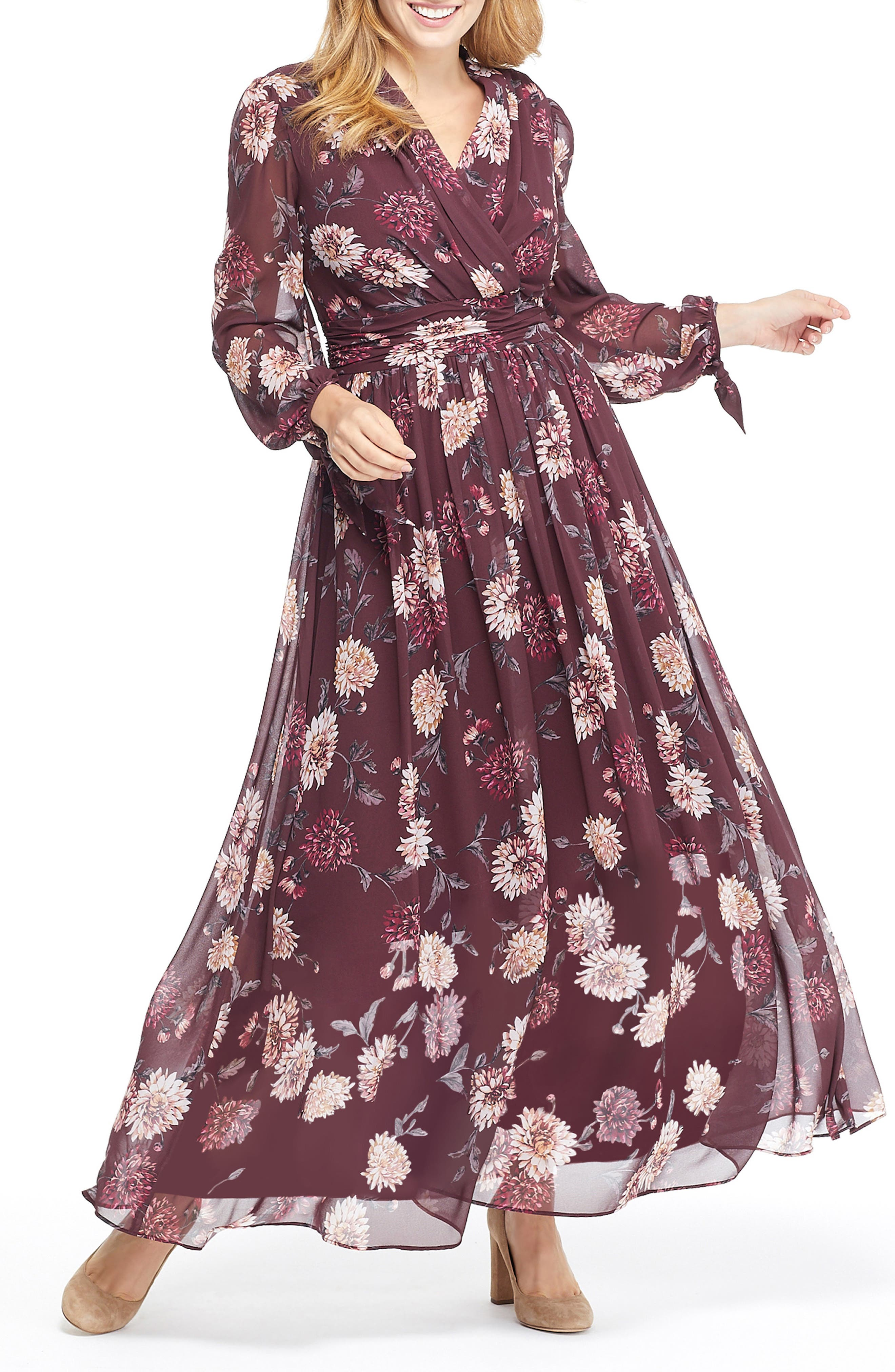 GAL MEETS GLAM COLLECTION Georgia Chiffon Maxi Dress, Main, color, WINE/ VELVET ROSE