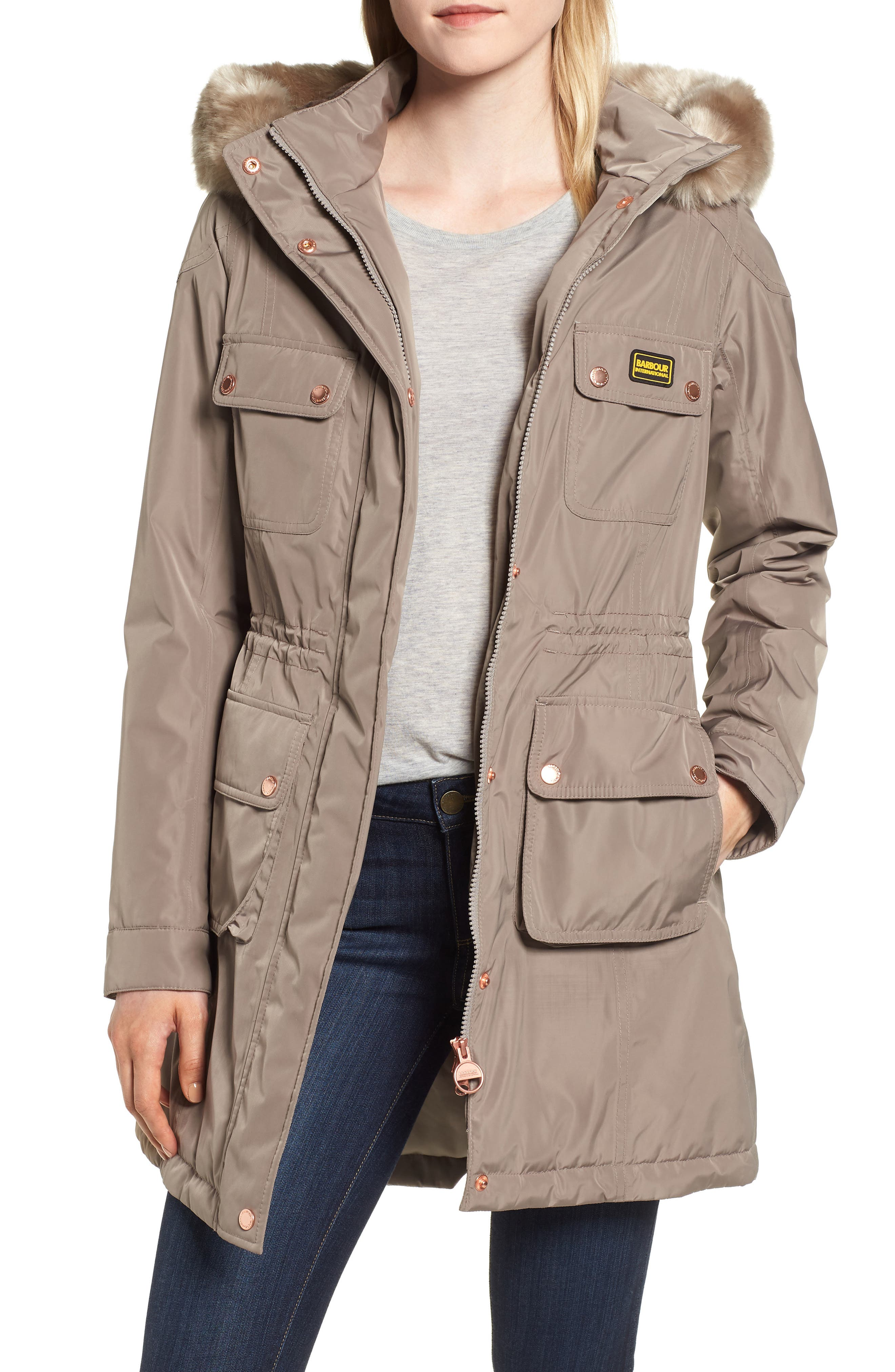 Barbour Imatra Waterproof Jacket With Faux Fur Trim, US / 14 UK - Beige