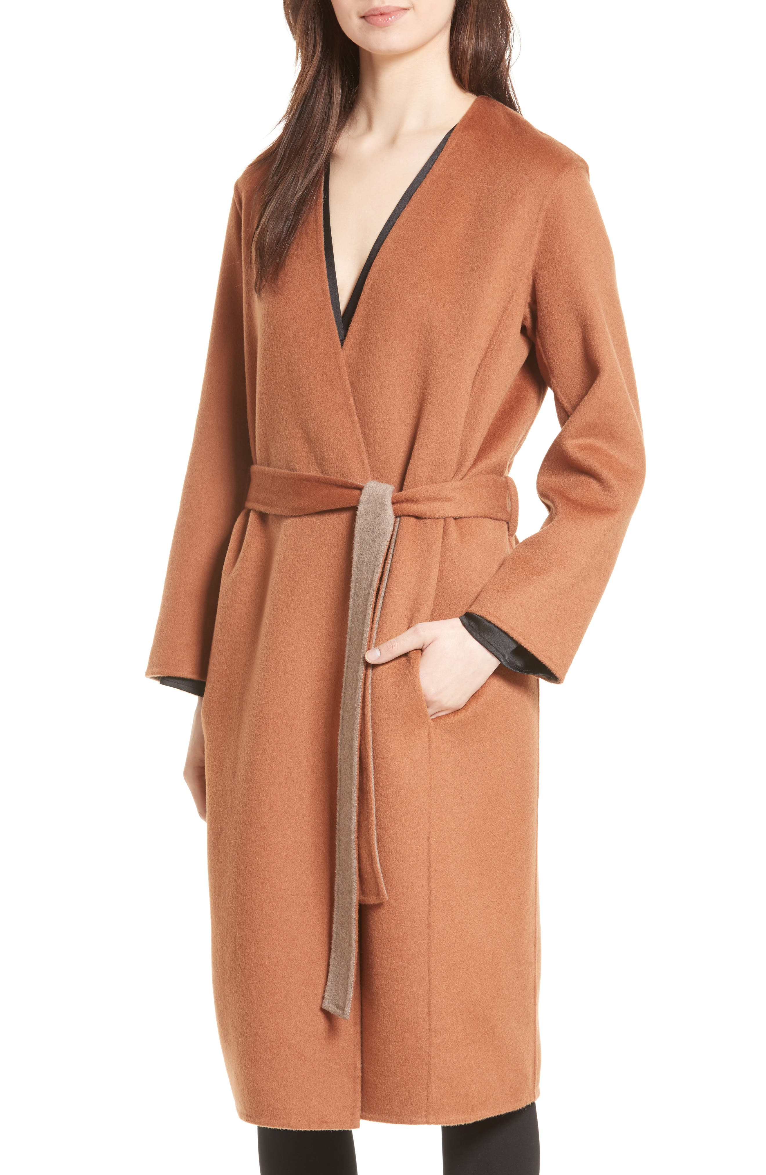 Reversible Wool & Cashmere Belted Coat,                             Alternate thumbnail 10, color,