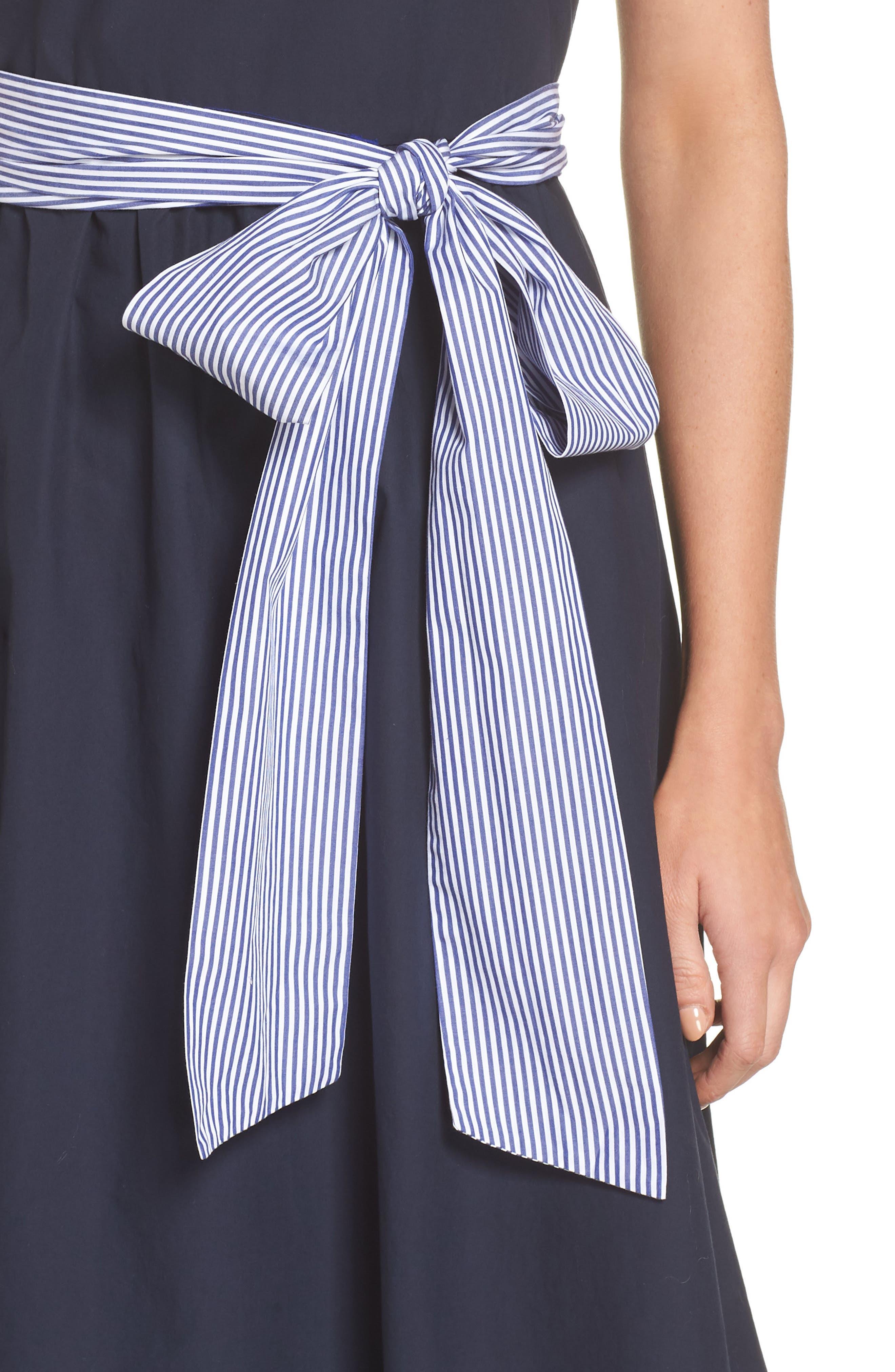Two-Tone Tie Waist Sheath Dress,                             Alternate thumbnail 4, color,                             401