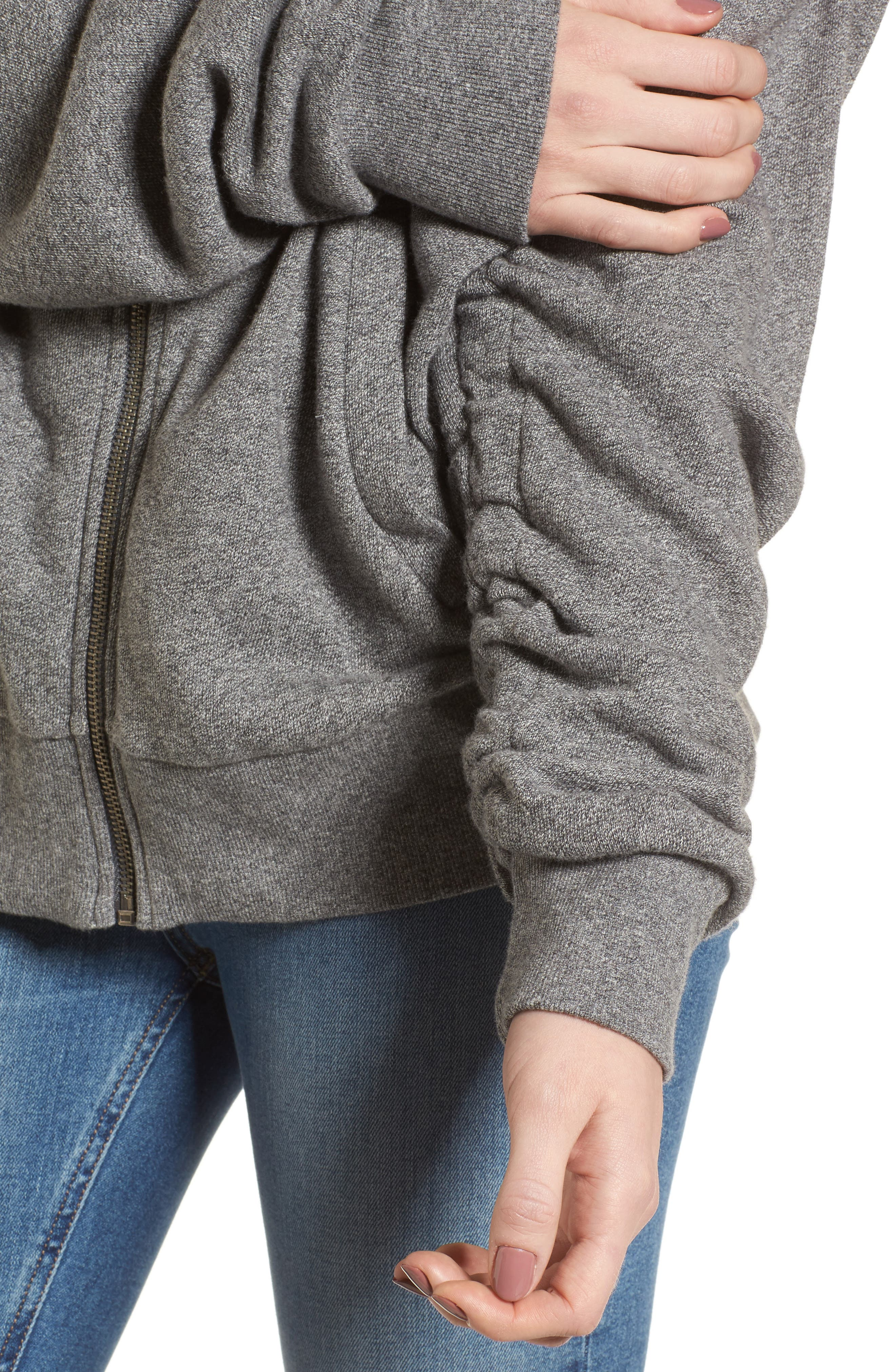 Ruched Sleeve Hoodie,                             Alternate thumbnail 4, color,                             HEATHER GREY