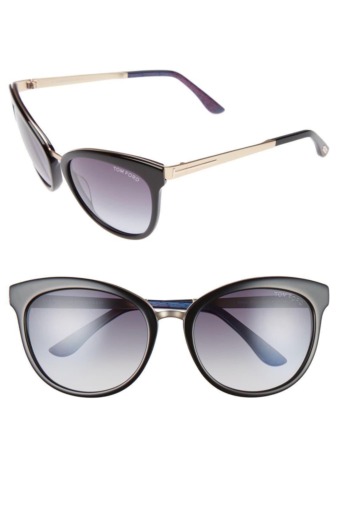 'Emma' 56mm Retro Sunglasses,                         Main,                         color, 002