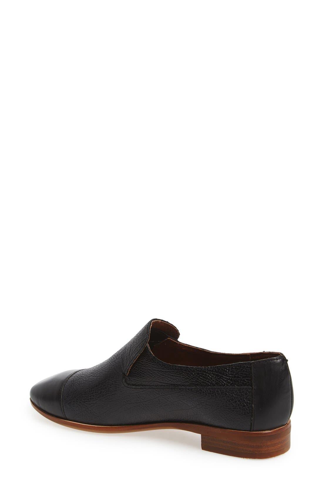 'Bryant' Cap Toe Loafer,                             Alternate thumbnail 2, color,                             BLACK LEATHER