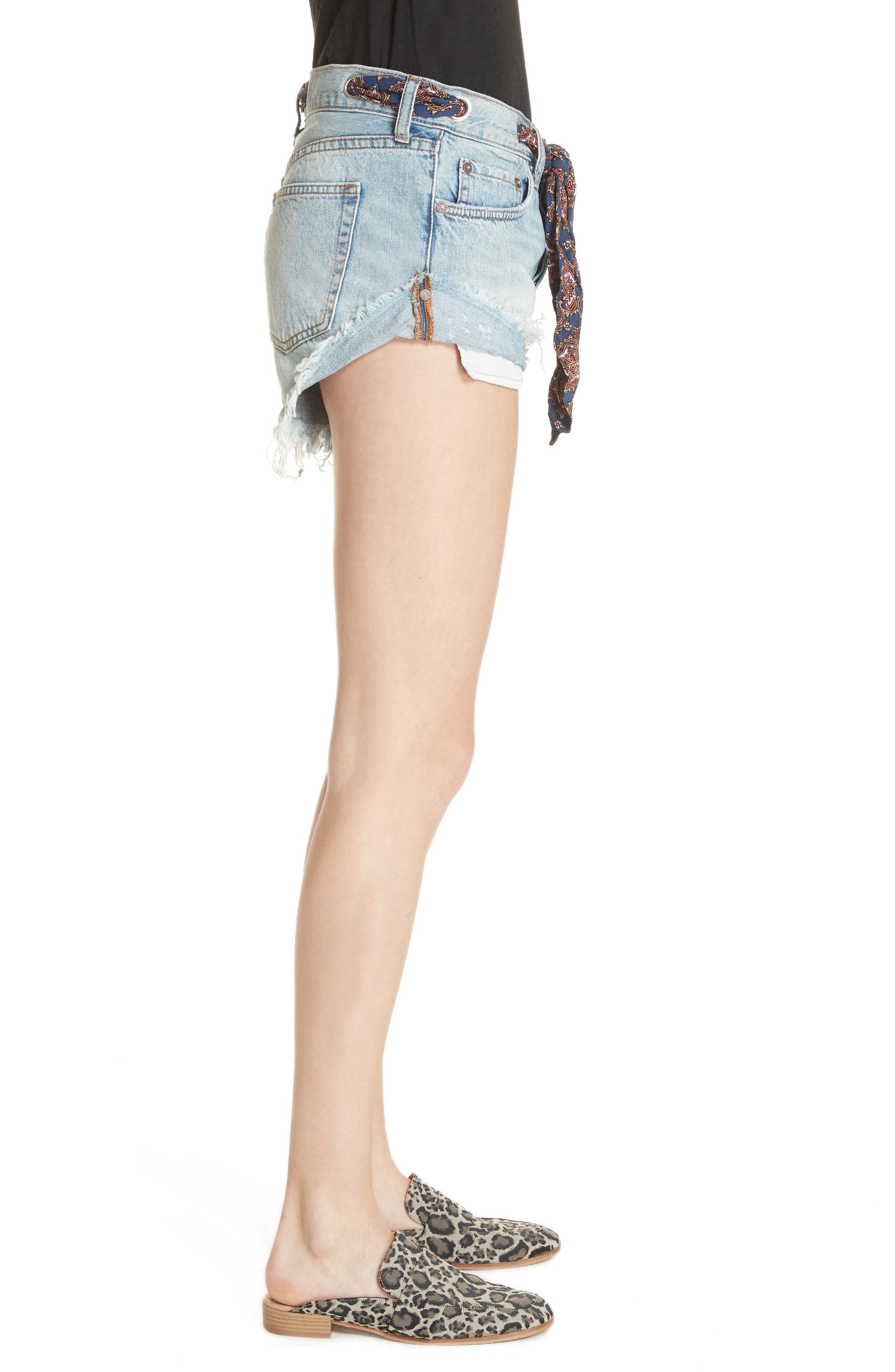 We the Free by Free People Sashed & Relaxed Cutoff Denim Shorts,                             Alternate thumbnail 3, color,                             400