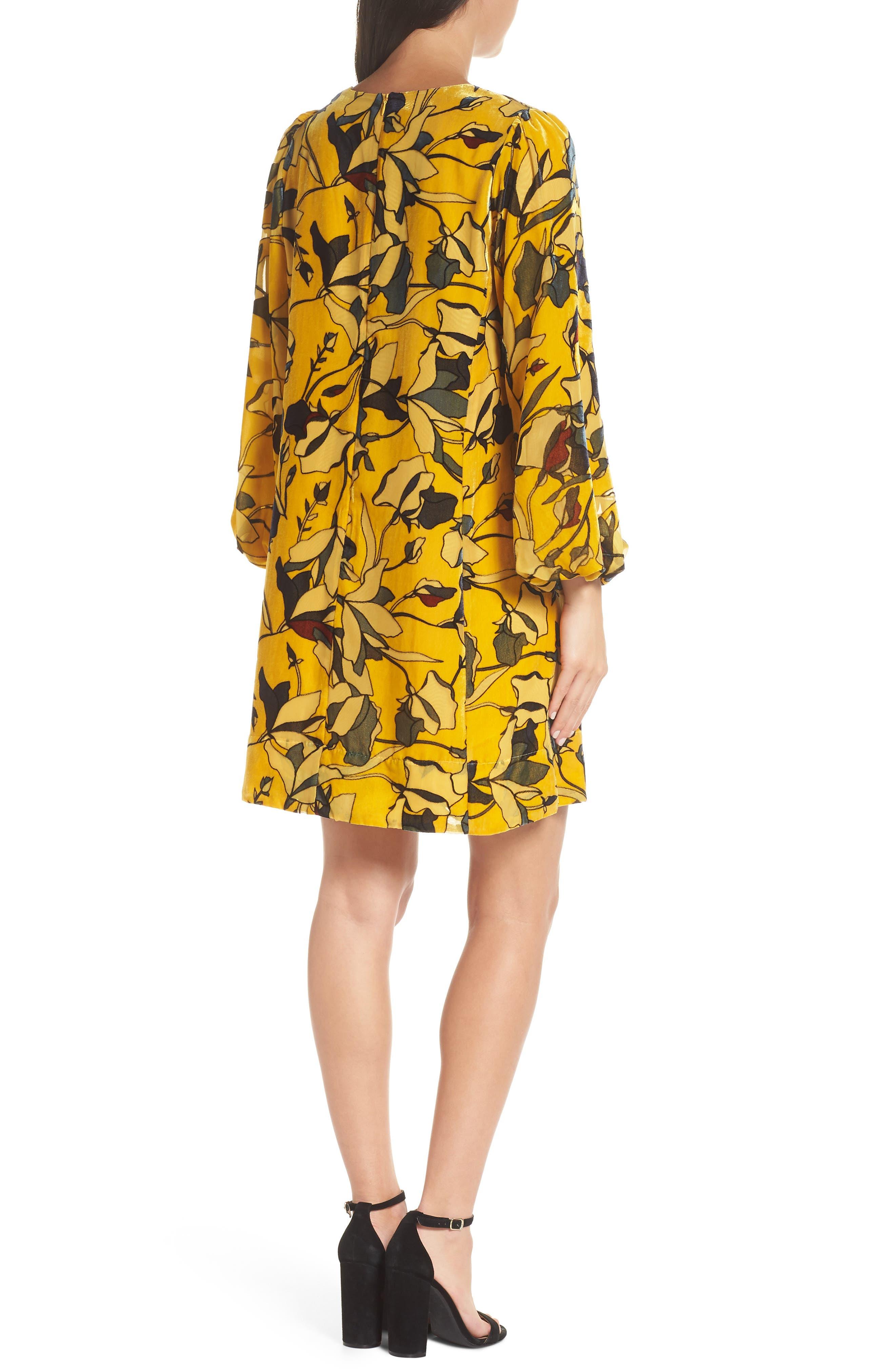 Aventine Velvet Tunic Dress,                             Alternate thumbnail 2, color,                             CALLUNA YELLOW