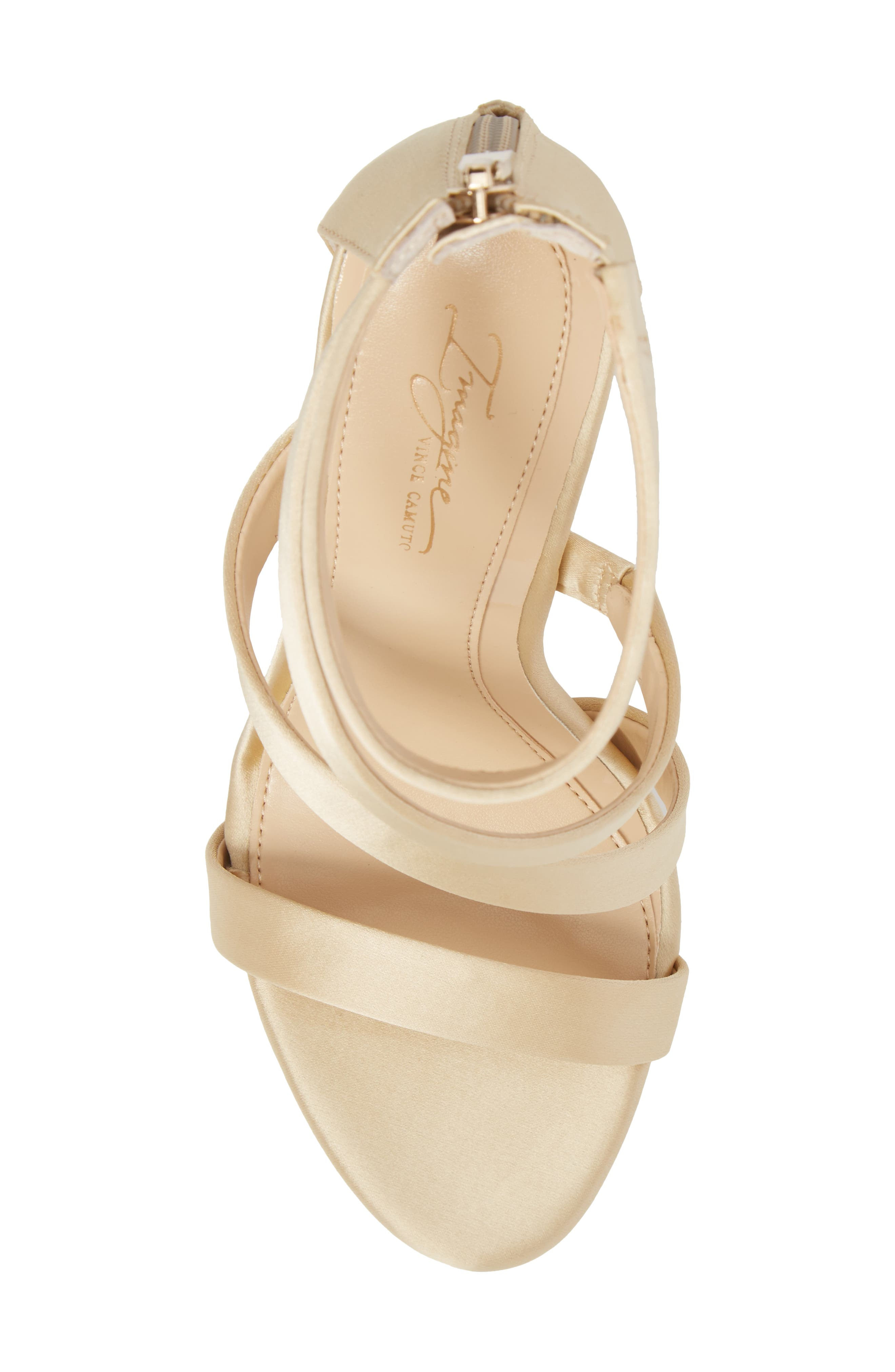Imagine Vince Camuto Dalles Tall Strappy Sandal,                             Alternate thumbnail 5, color,                             SOFT GOLD SATIN