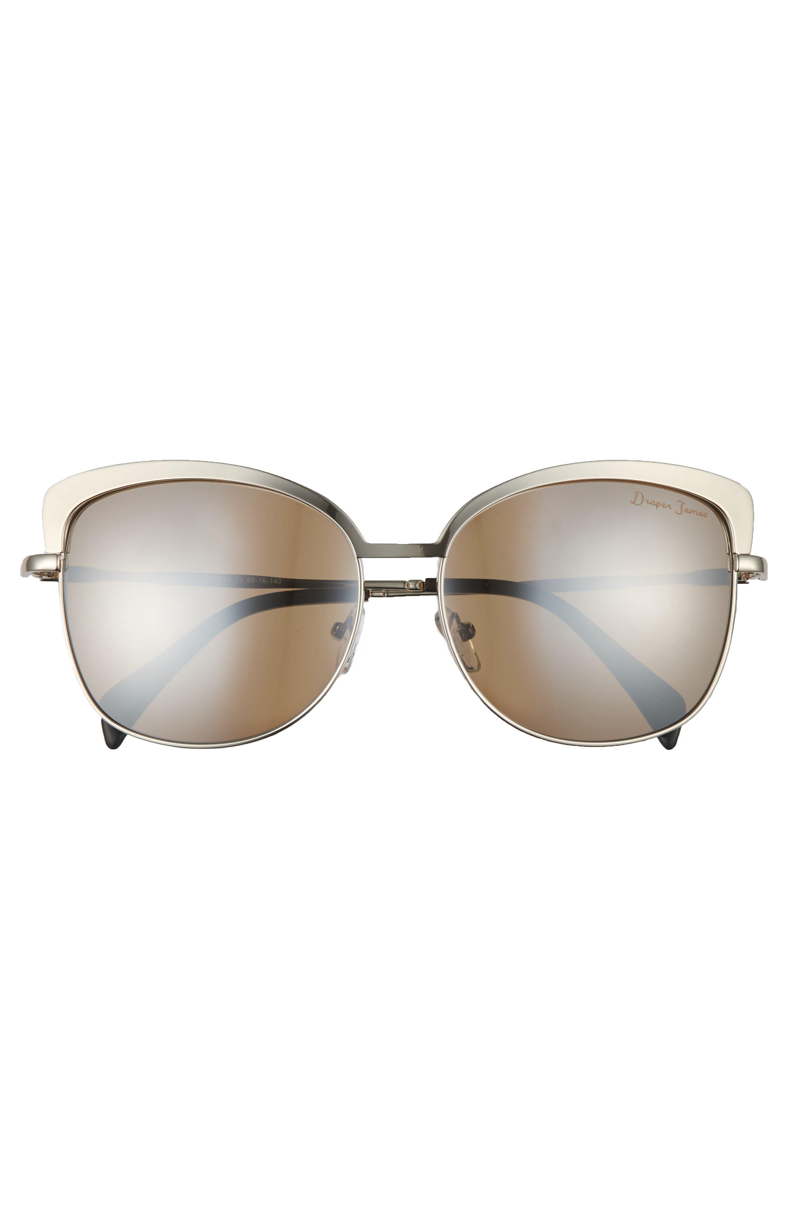 60mm Cat Eye Sunglasses,                             Alternate thumbnail 3, color,                             SHINY GUNMETAL