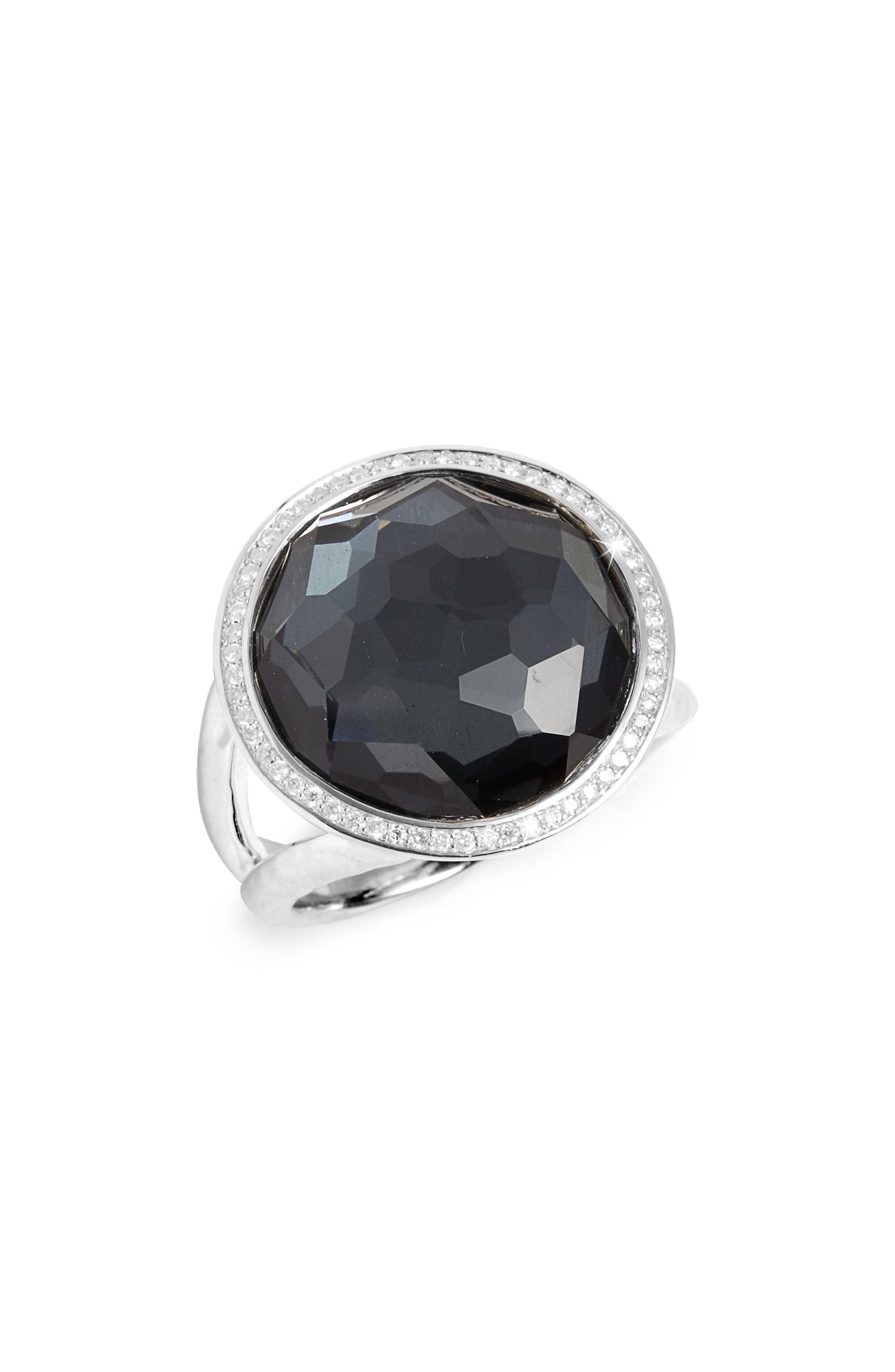 'Stella - Lollipop' Cocktail Ring,                             Alternate thumbnail 2, color,                             SILVER/ HEMATITE