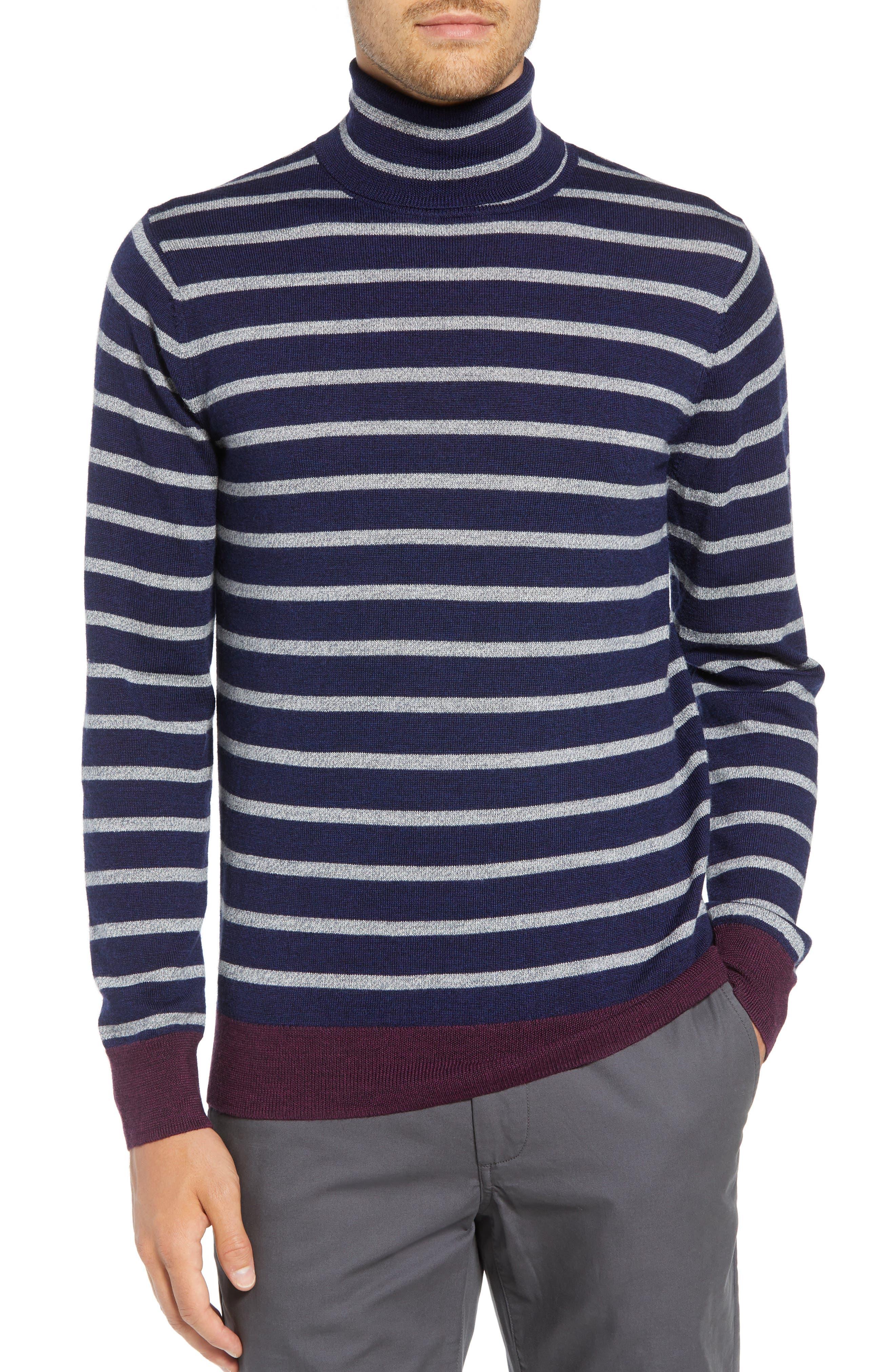 Slim Fit Turtleneck Merino Wool Sweater,                         Main,                         color, HEATHER INK/ COOL GREY