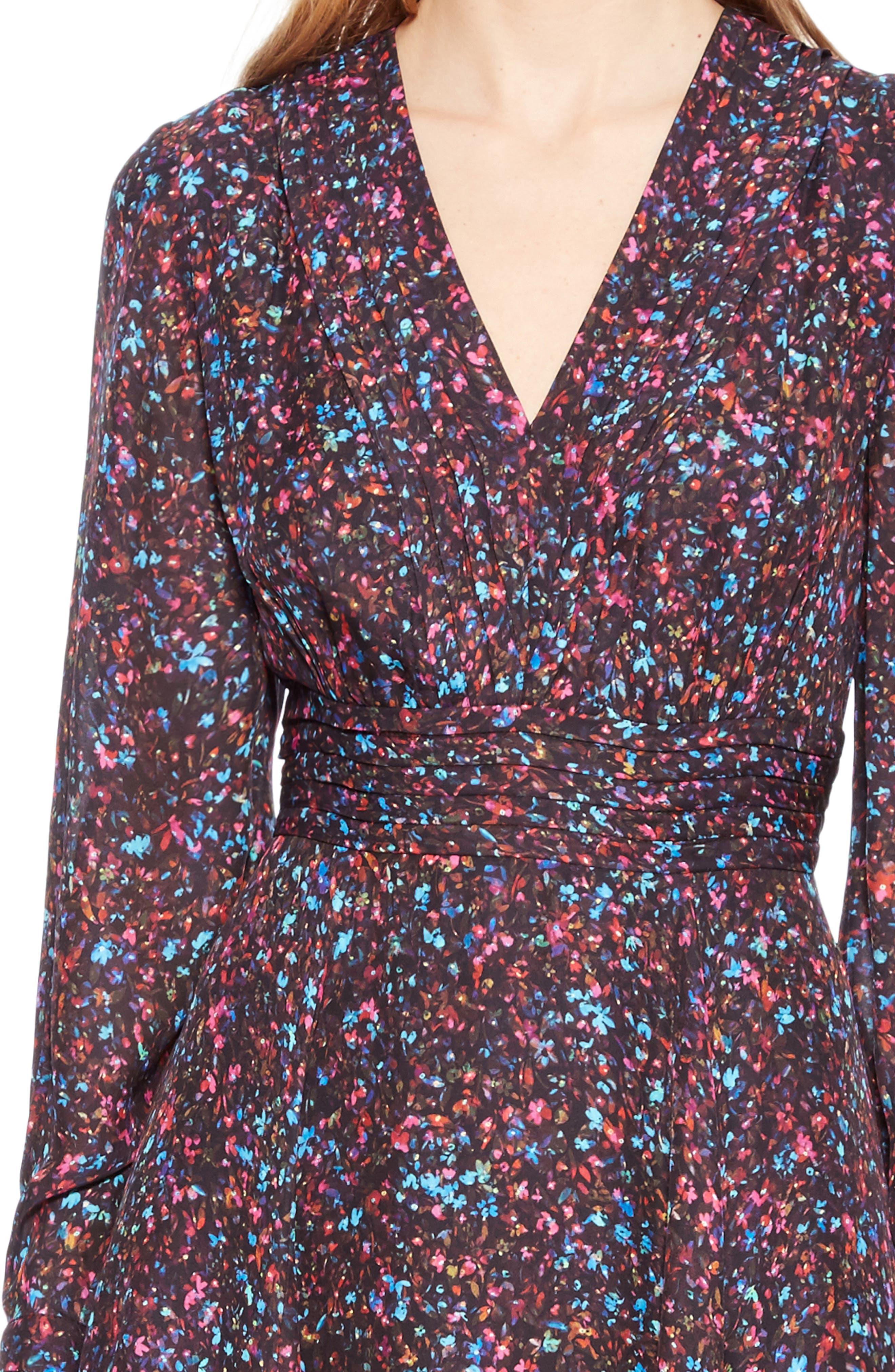 Evanna Floral Print Midi Dress,                             Alternate thumbnail 4, color,                             MINI DITSY