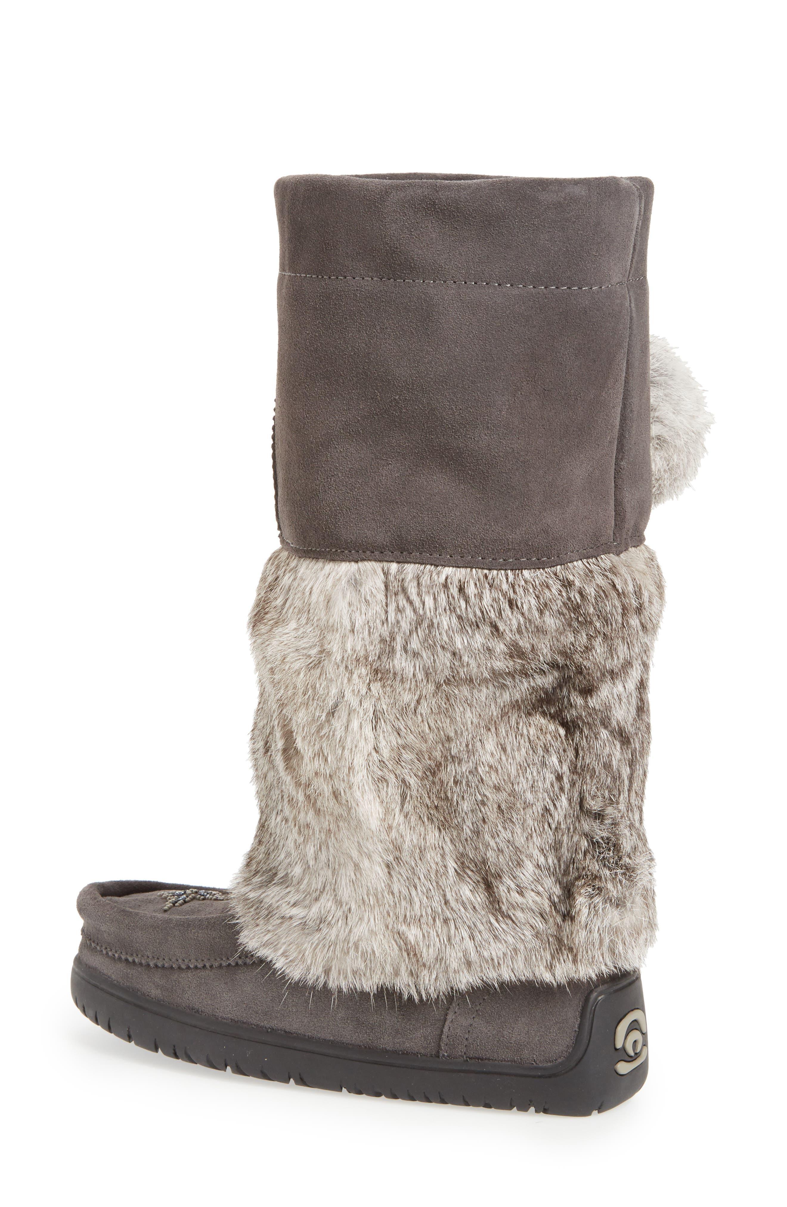 Snowy Owl Waterproof Genuine Fur Boot,                             Alternate thumbnail 4, color,