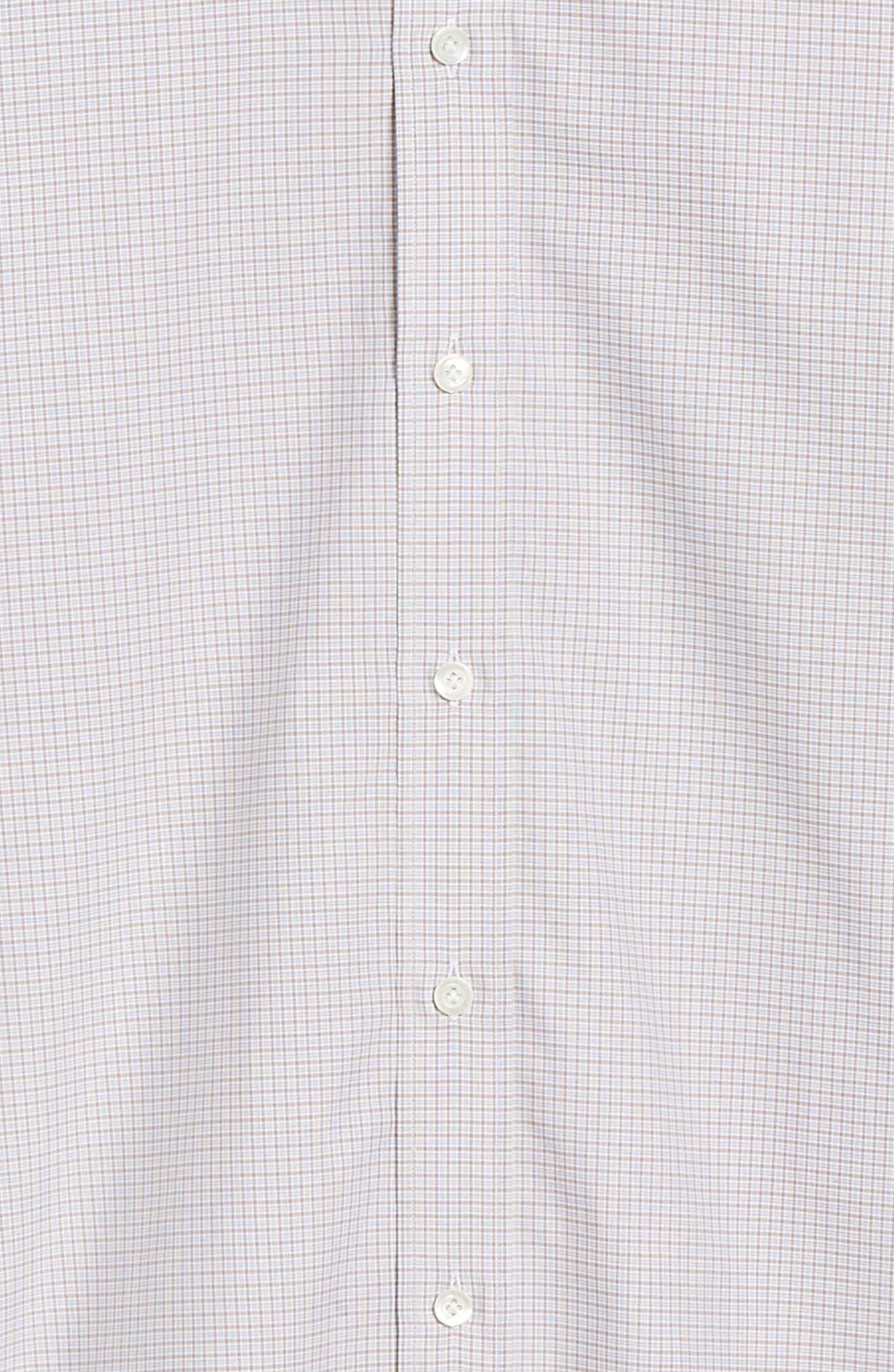 Slim Fit Check Dress Shirt,                             Alternate thumbnail 6, color,                             TAN