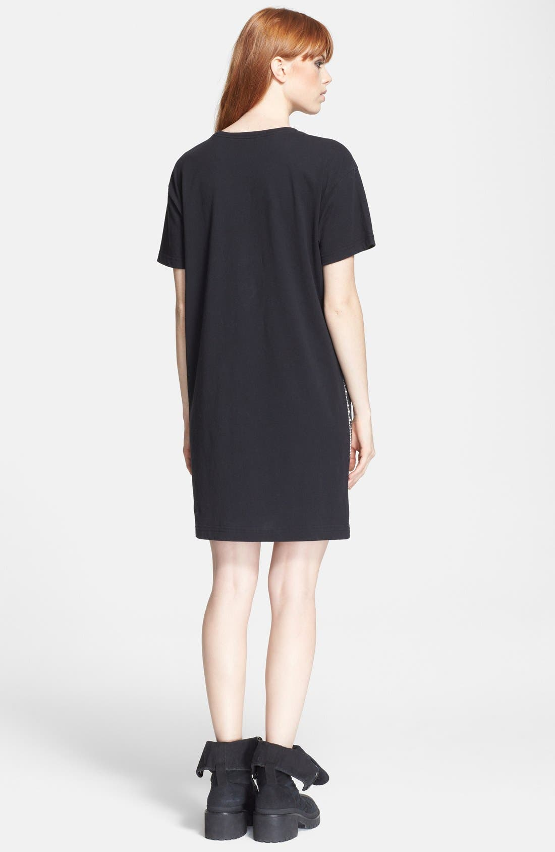 'New World' Graphic T-Shirt Dress,                             Alternate thumbnail 3, color,                             002