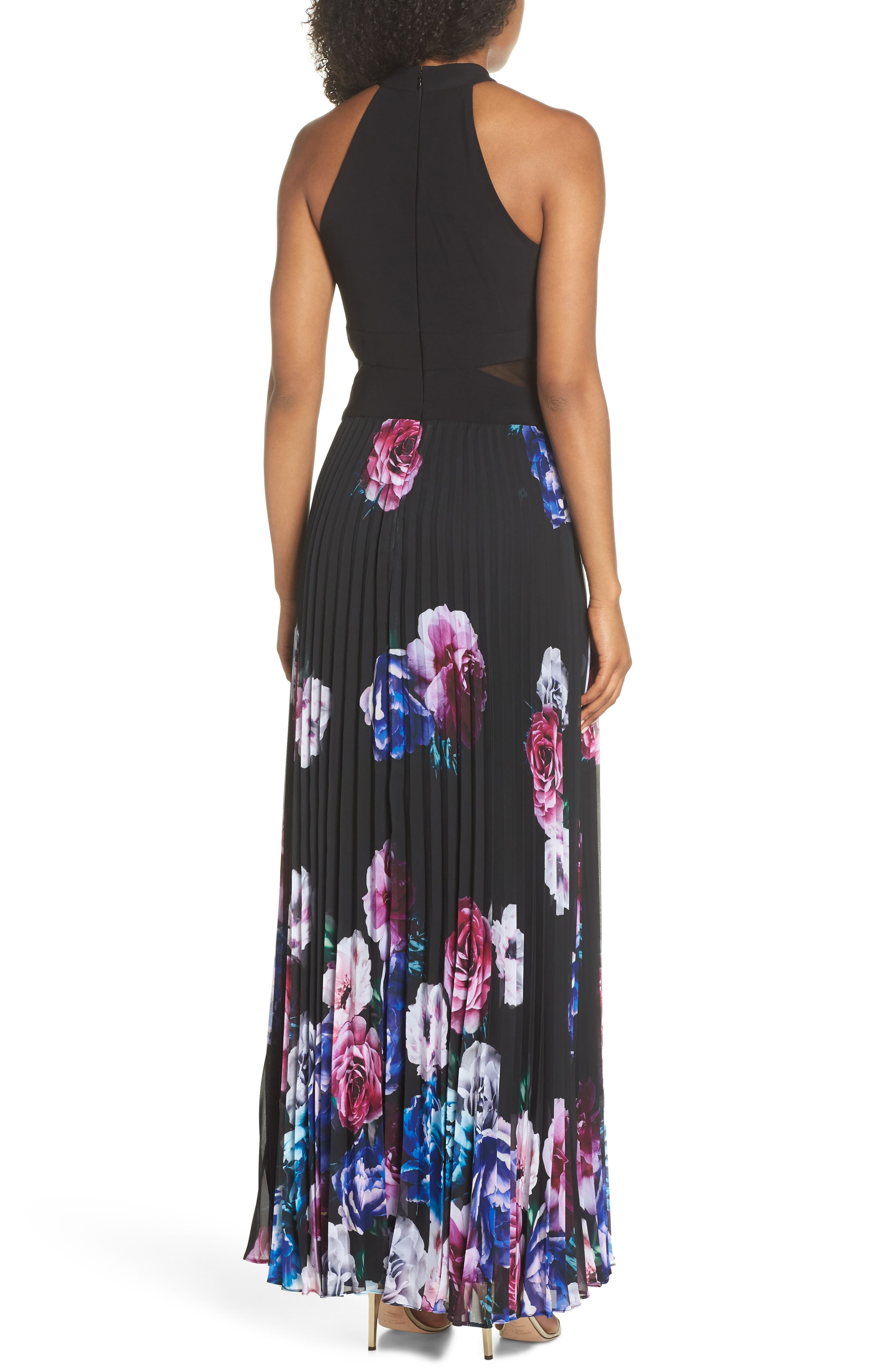 Halter Neck Gown,                             Alternate thumbnail 2, color,                             BLACK/ MAGENTA