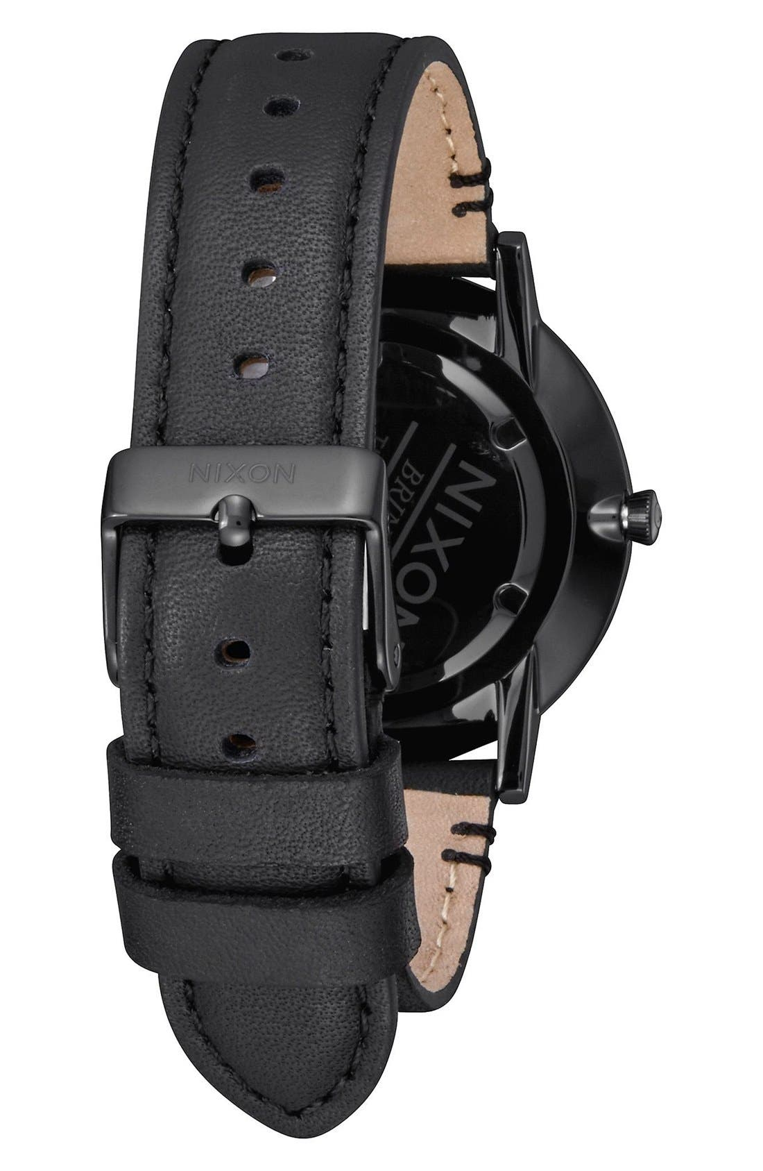 The Porter Leather Strap Watch, 40mm,                             Alternate thumbnail 6, color,                             BLACK/ GOLD