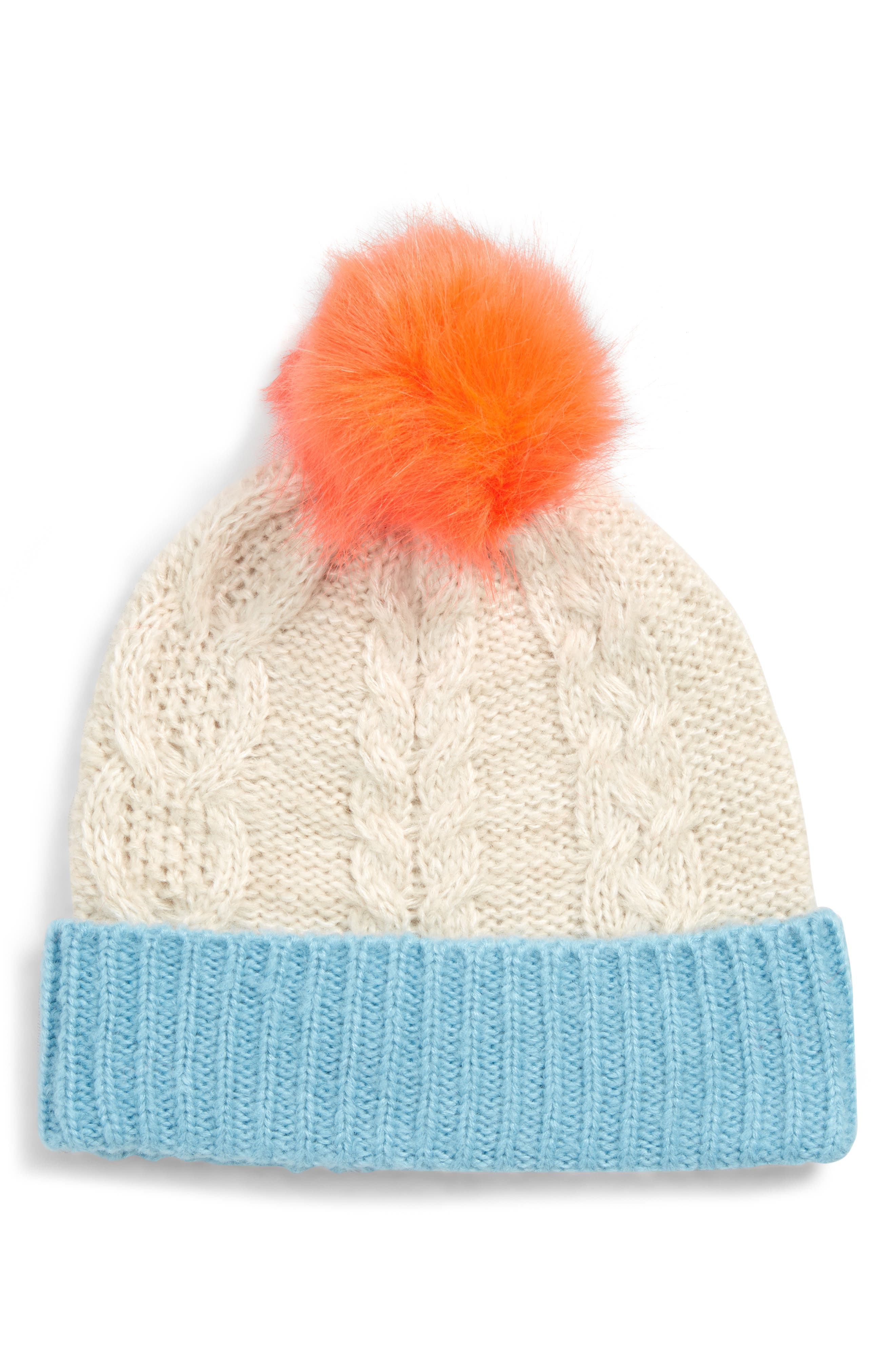 Cabled Beanie with Faux Fur Pom, Main, color, ECR ECRU MARL