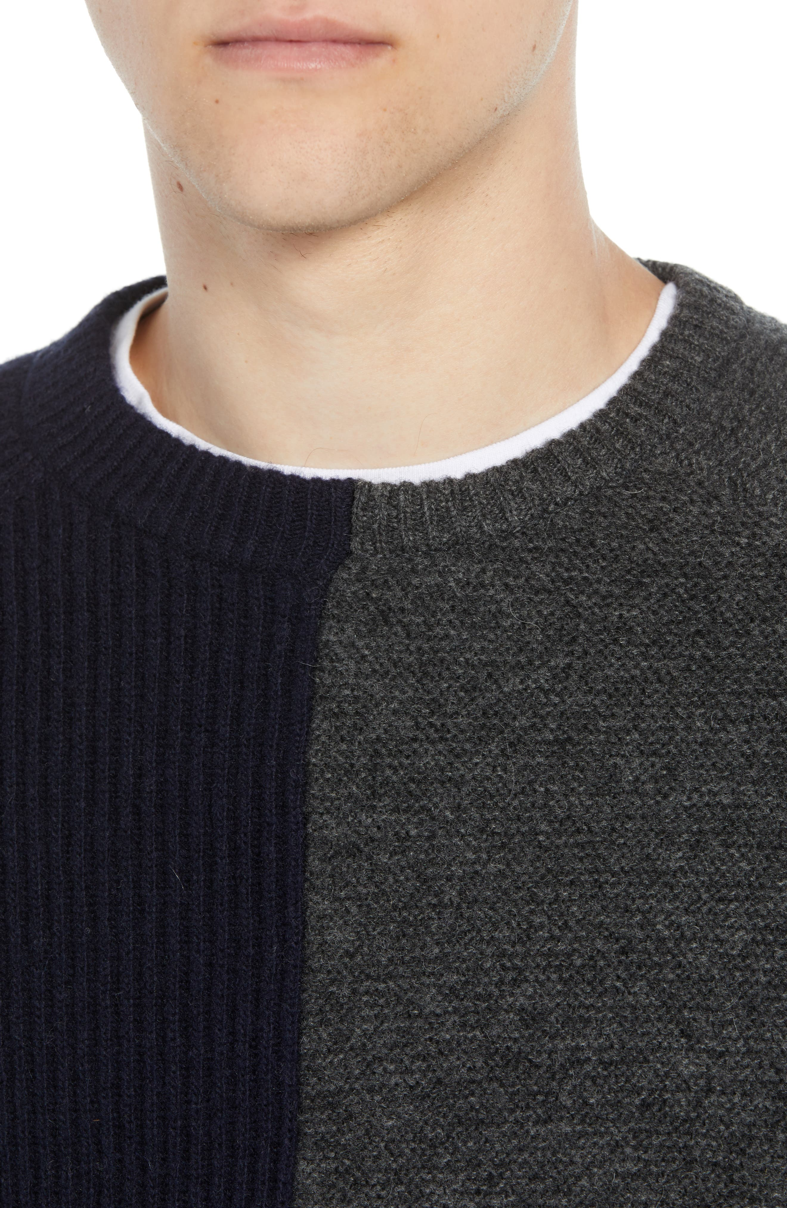 Mixed Texture Wool Blend Sweater,                             Alternate thumbnail 4, color,                             UTILITY BLUE CHARCOAL MELANGE
