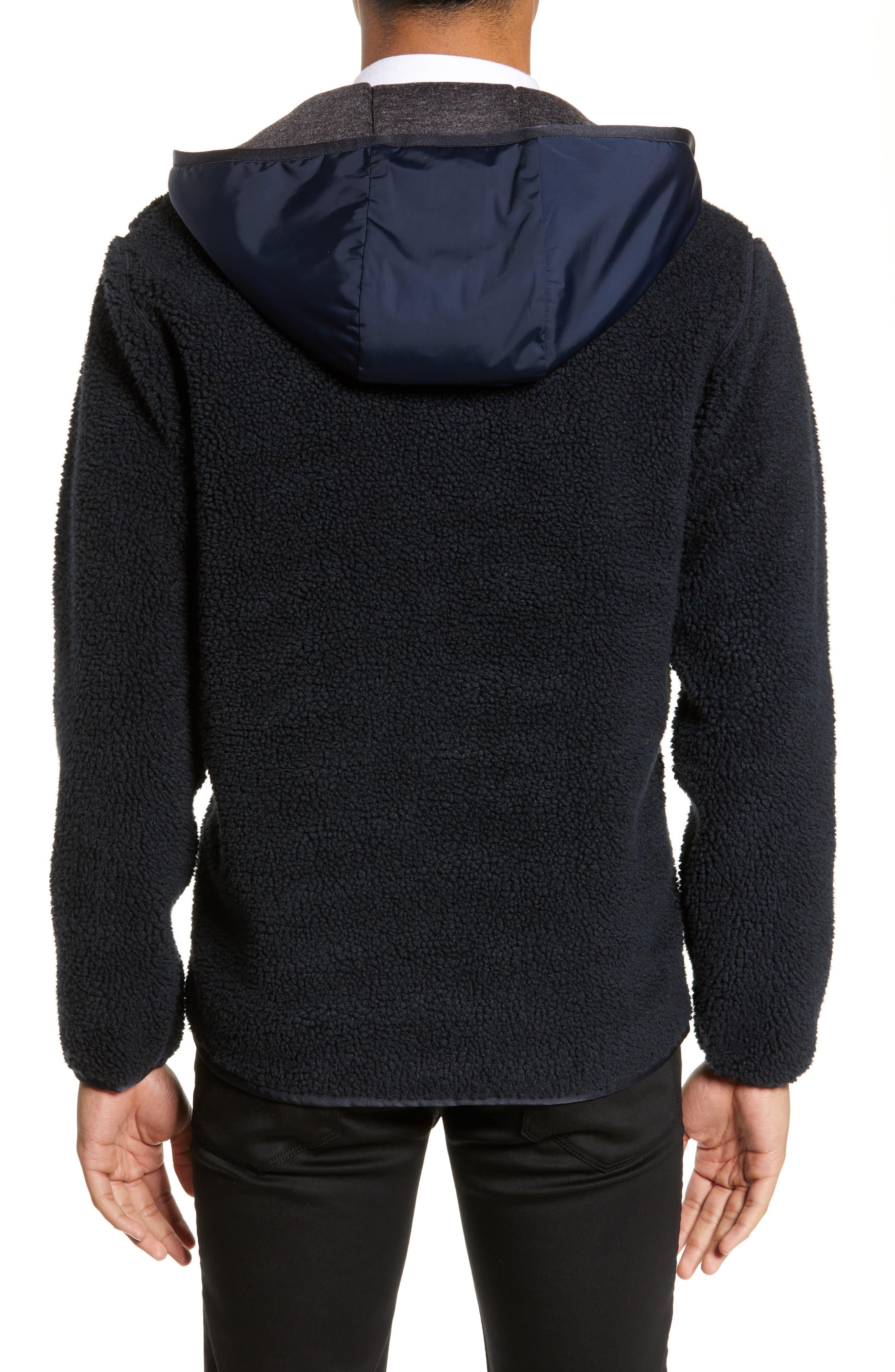THEORY,                             Polar Fleece Reversible Zip Hoodie,                             Alternate thumbnail 3, color,                             ECLIPSE/ ASHPALT MELANGE