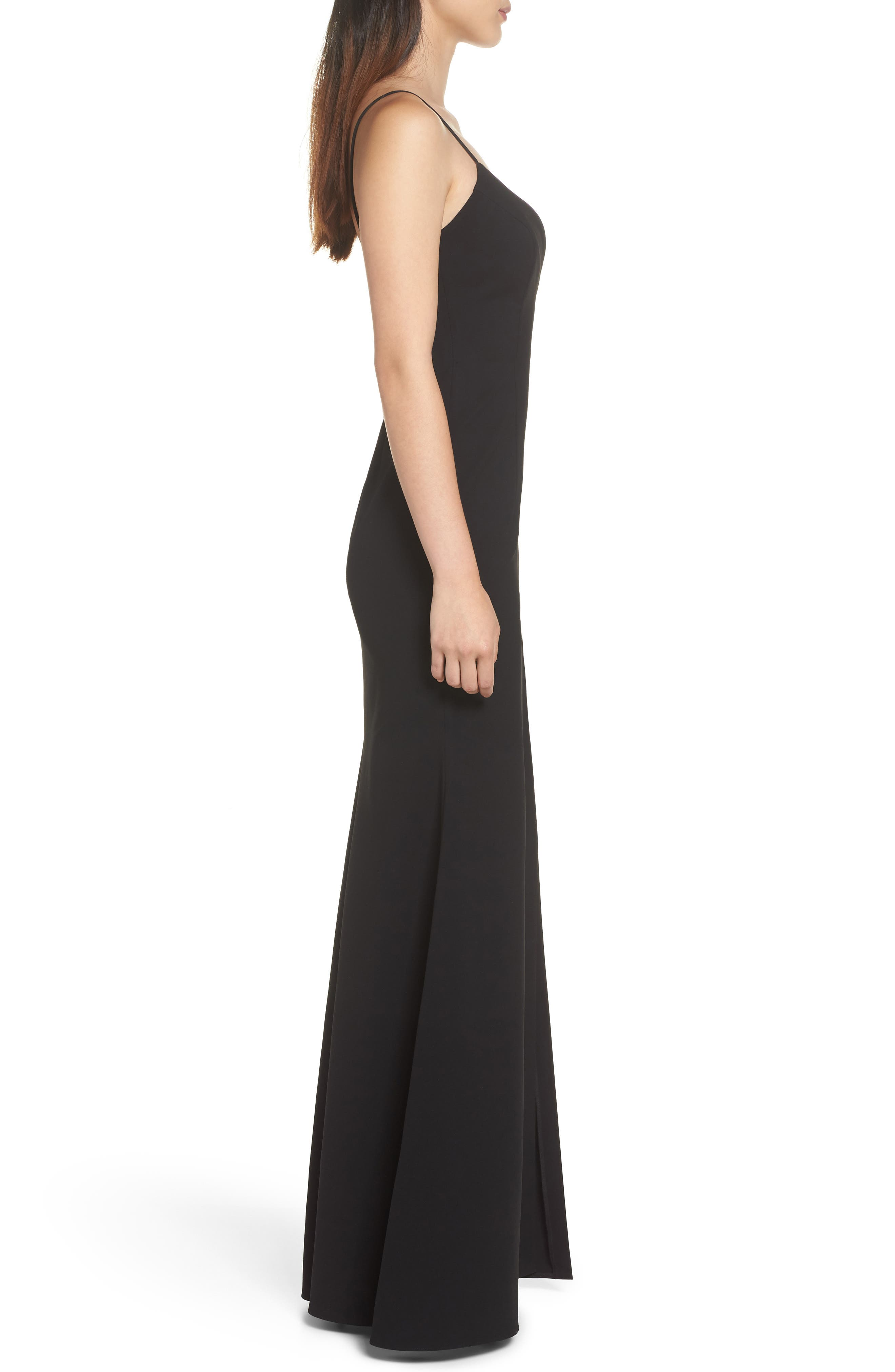 Plunge Sweetheart Gown,                             Alternate thumbnail 3, color,                             BLACK