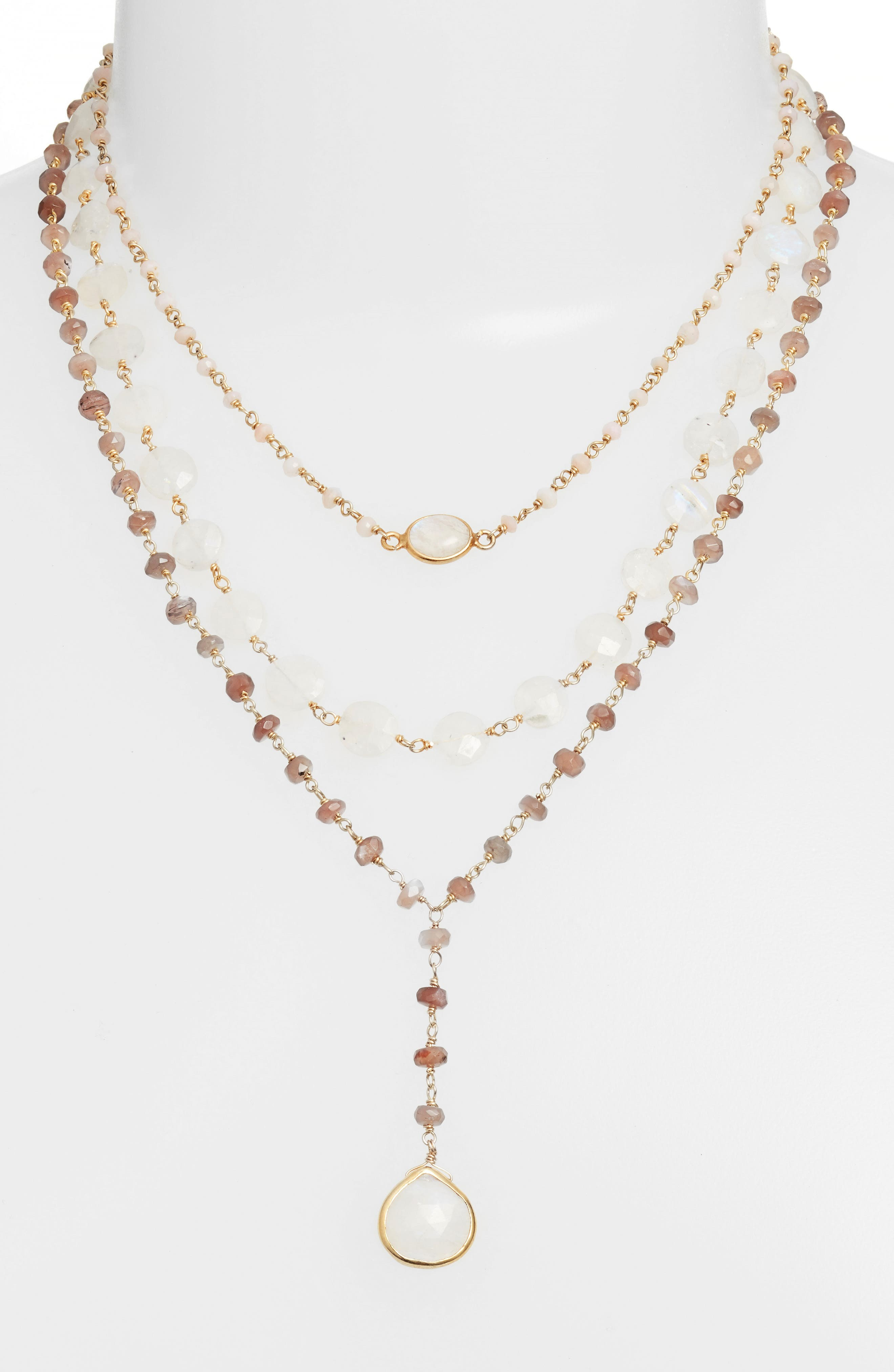 Multistrand Y-Necklace,                             Alternate thumbnail 2, color,                             PINK OPAL/ BROWN MOONSTONE