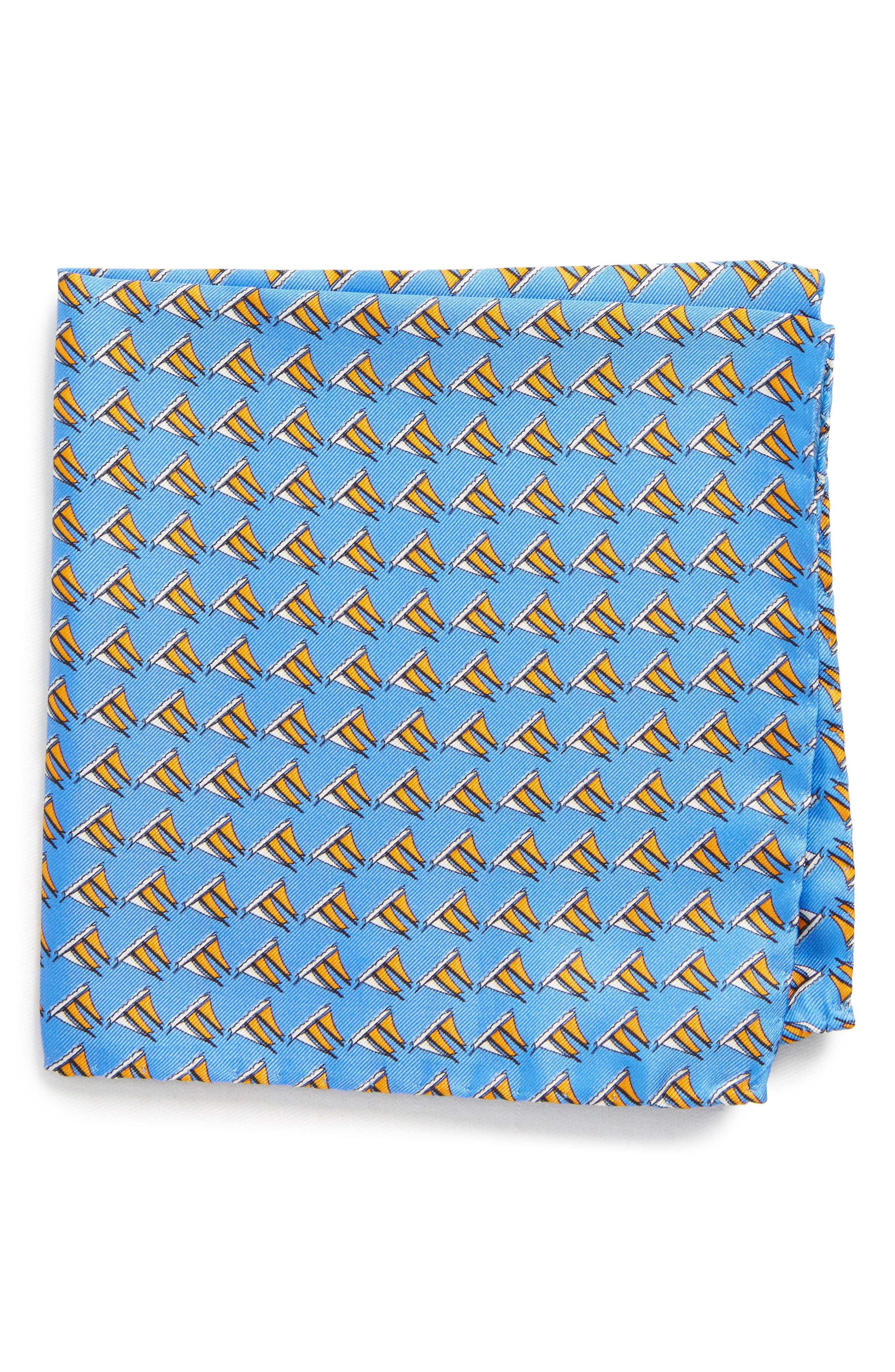 Three Sheets to the Wind Silk Pocket Square,                         Main,                         color, BLUE