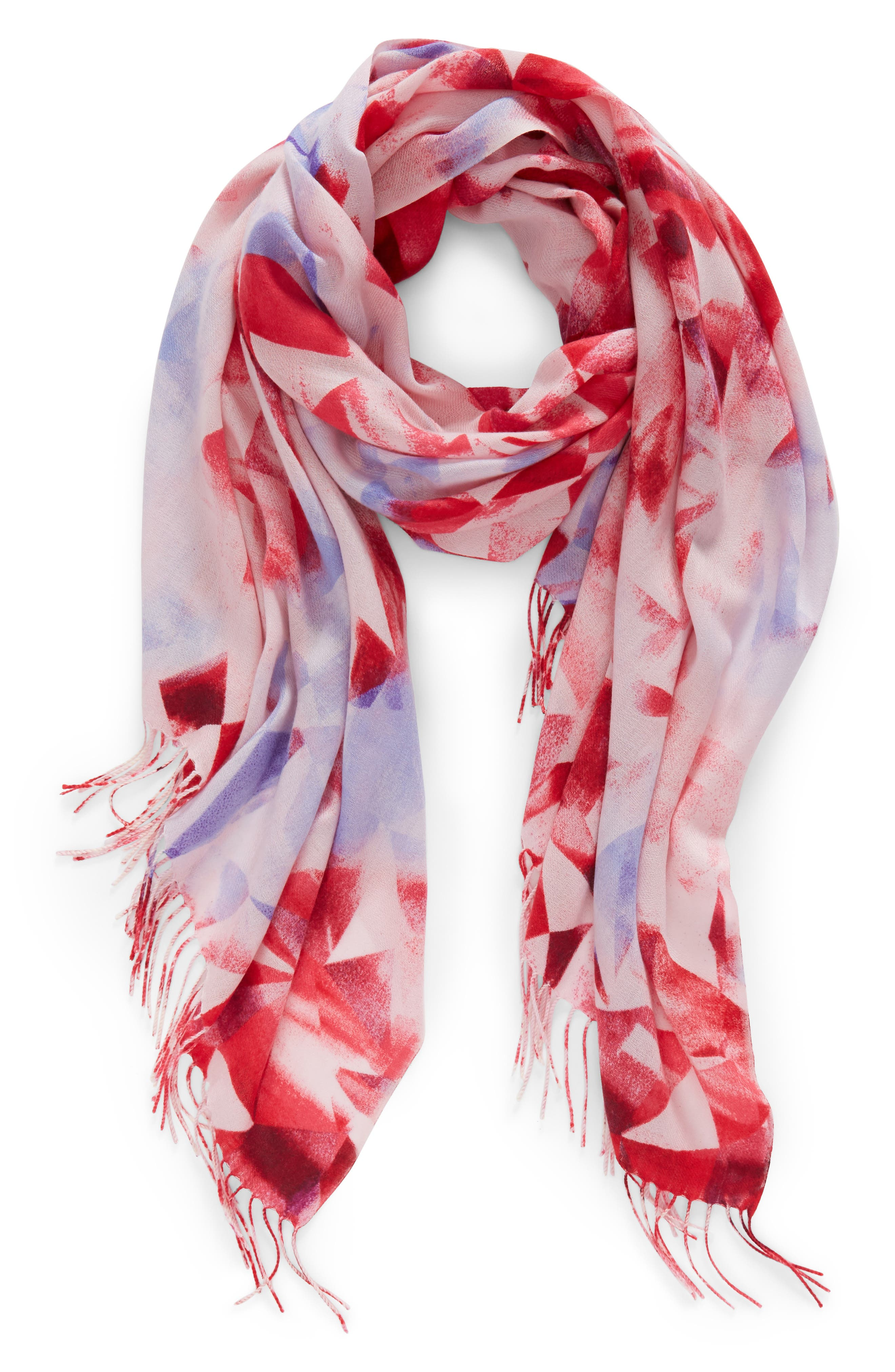 Tissue Print Wool & Cashmere Wrap Scarf,                             Alternate thumbnail 62, color,