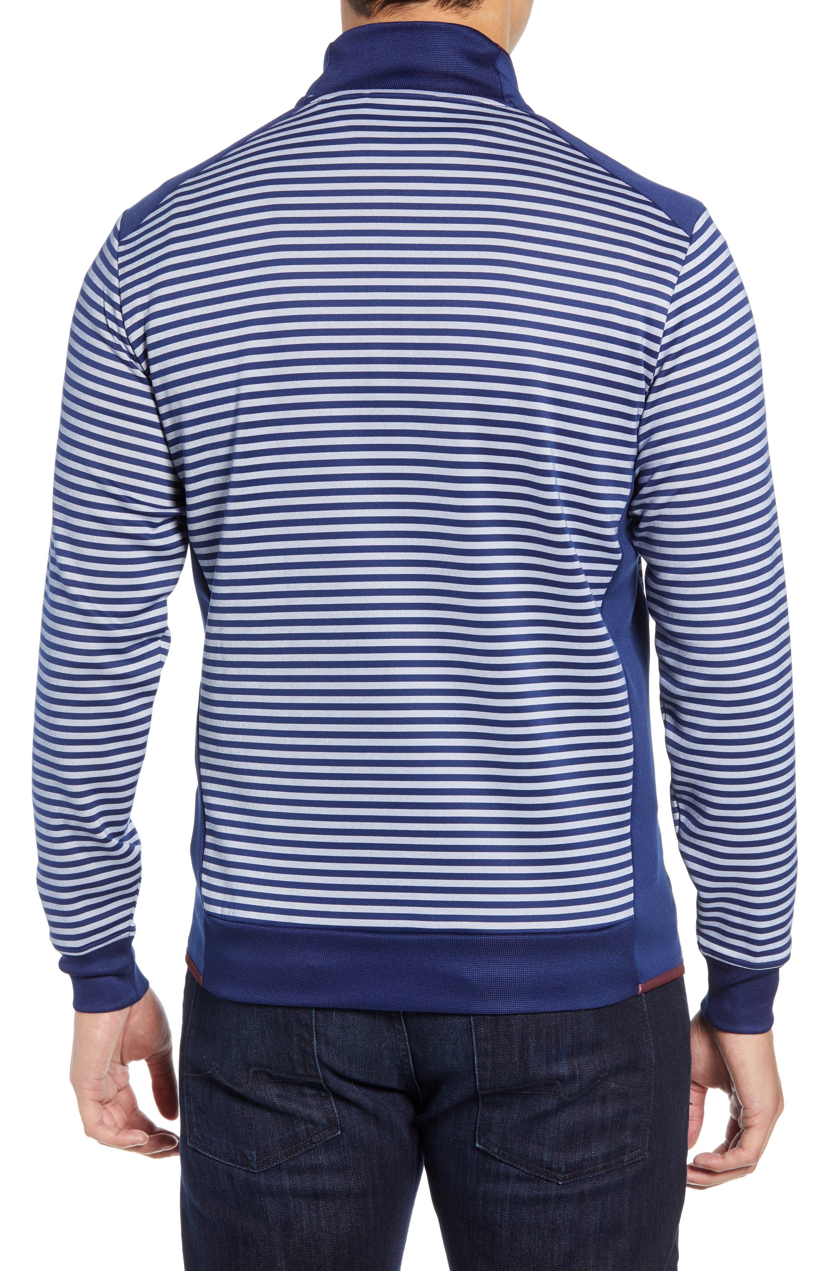 Regular Fit Stripe Quarter Zip Pullover,                             Alternate thumbnail 2, color,                             NAVY