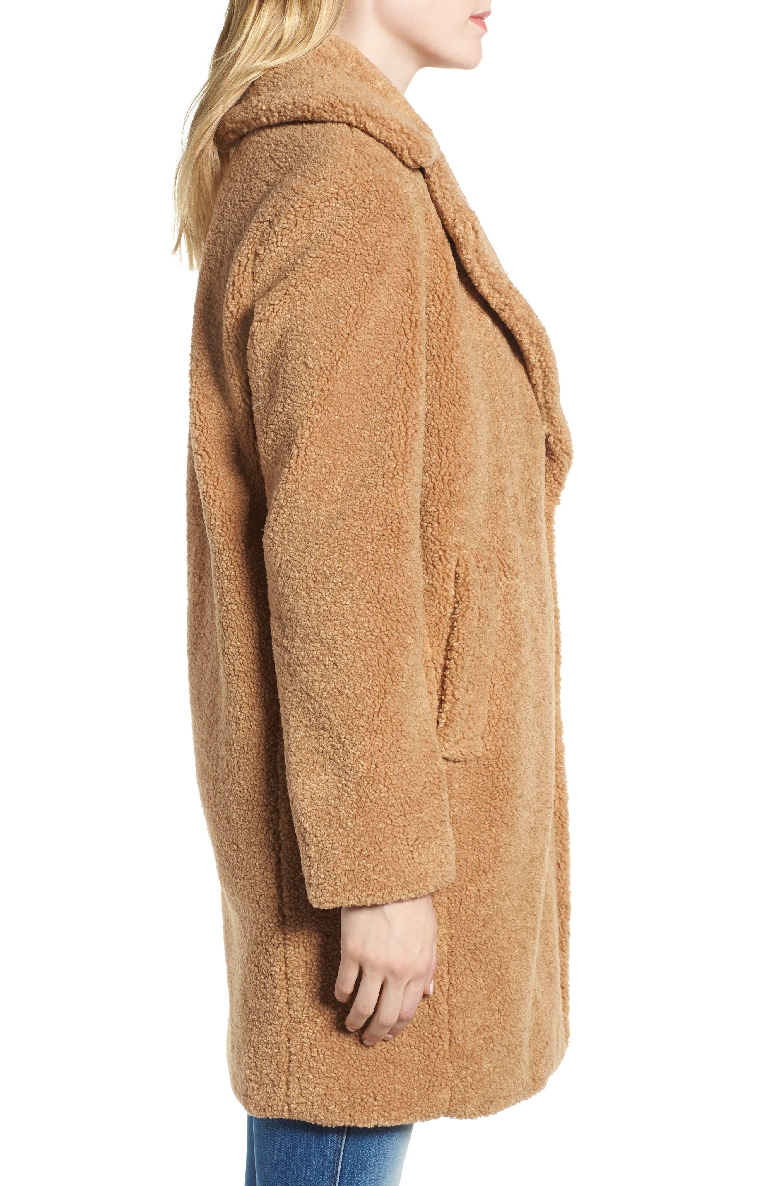 Faux Fur Teddy Bear Coat,                             Alternate thumbnail 3, color,                             256
