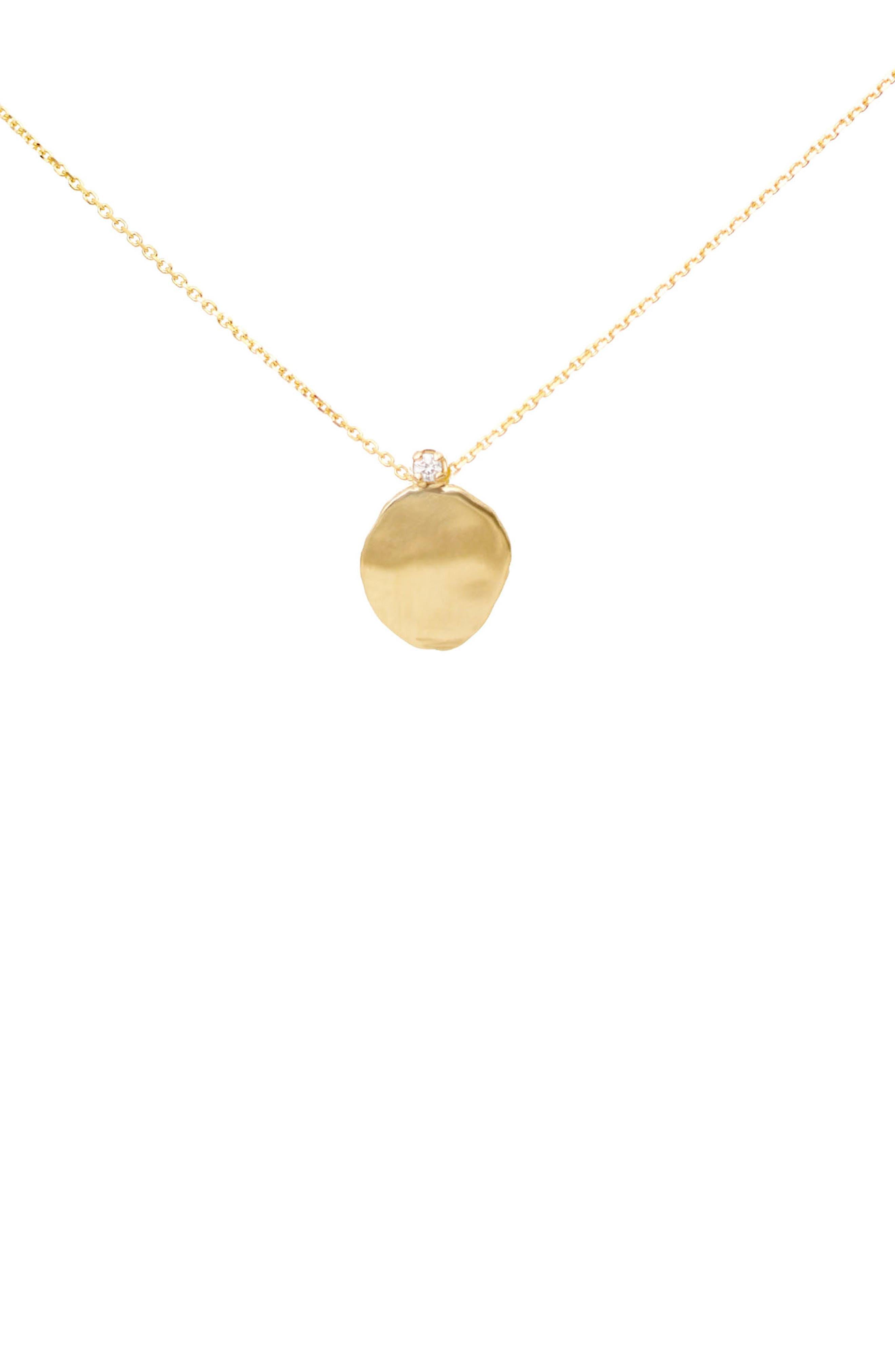 Large Disc Diamond Pendant Necklace,                             Main thumbnail 1, color,                             710