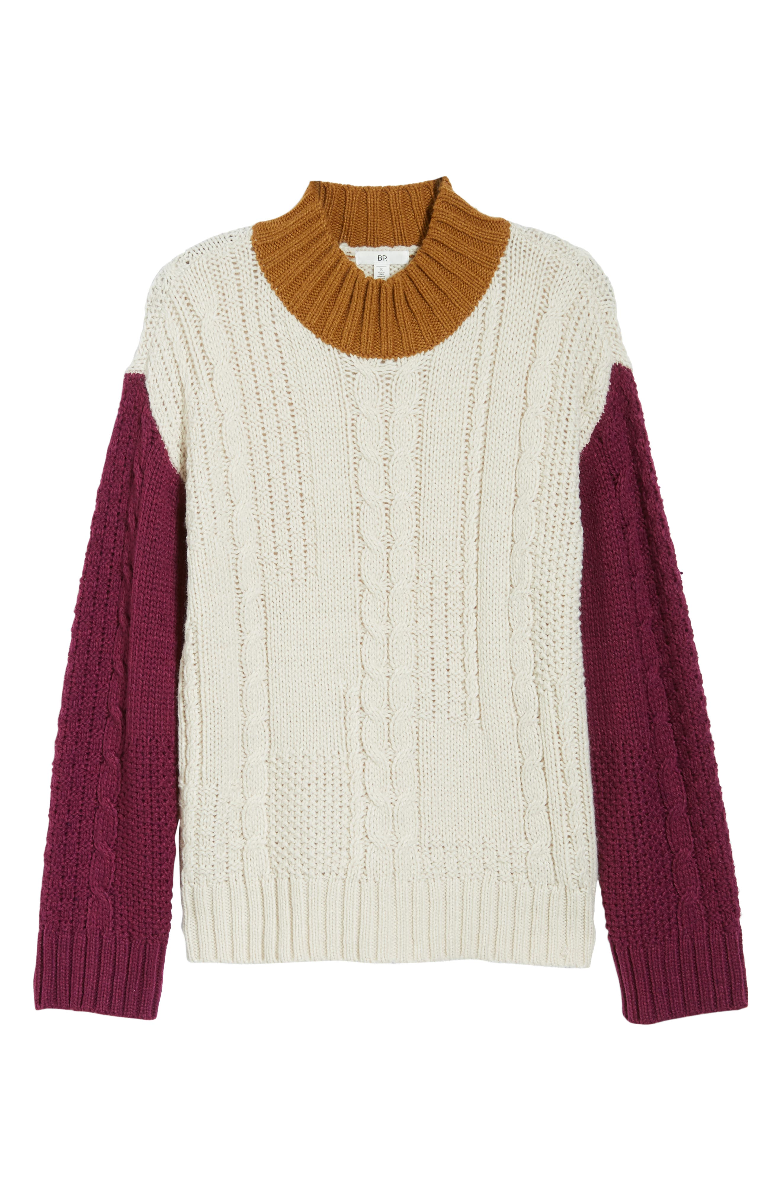 Colorblock Cable Knit Pullover,                             Alternate thumbnail 7, color,                             270