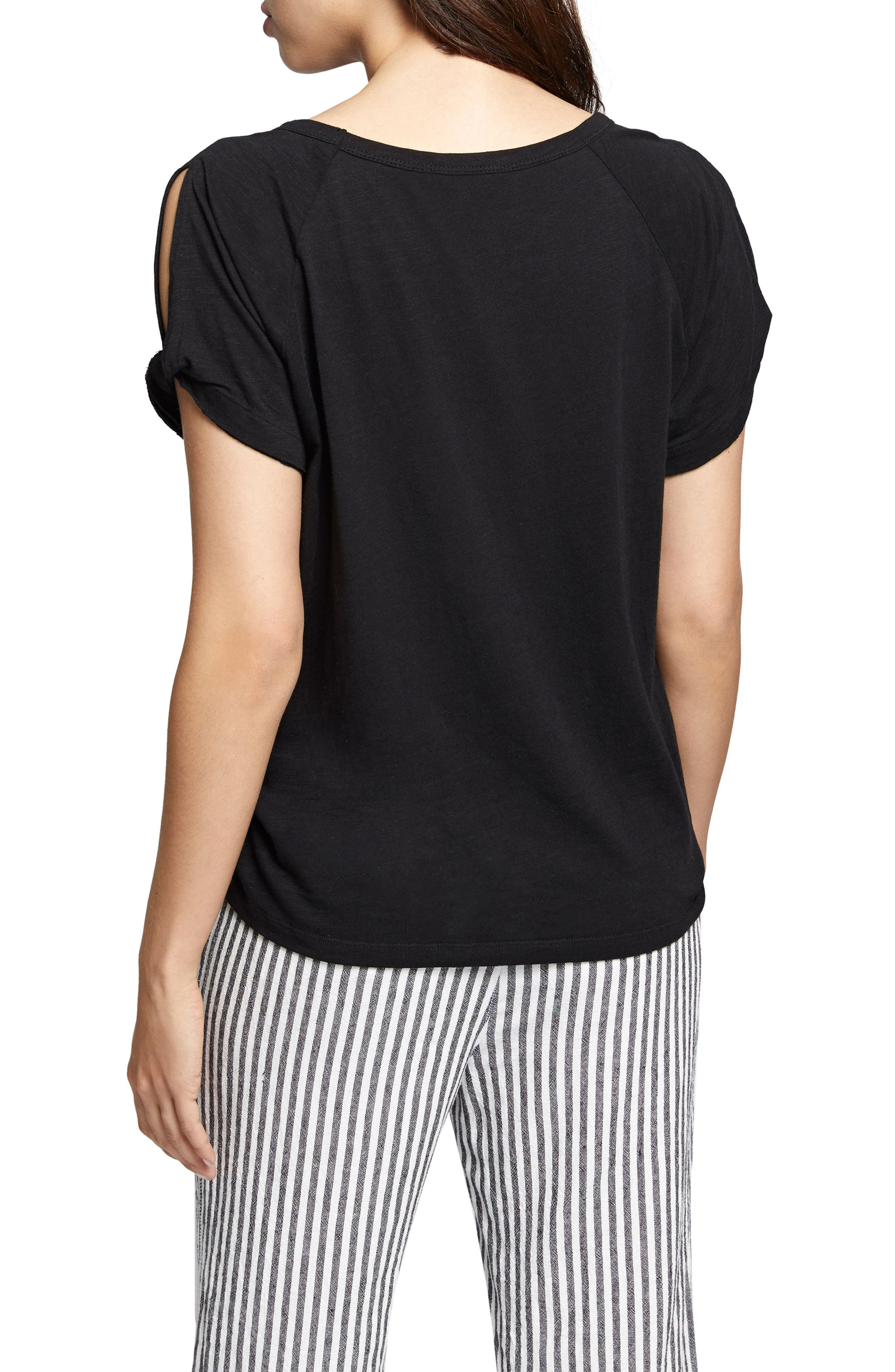 Adrienne Side Twist Cotton Blend Top,                             Alternate thumbnail 2, color,                             001