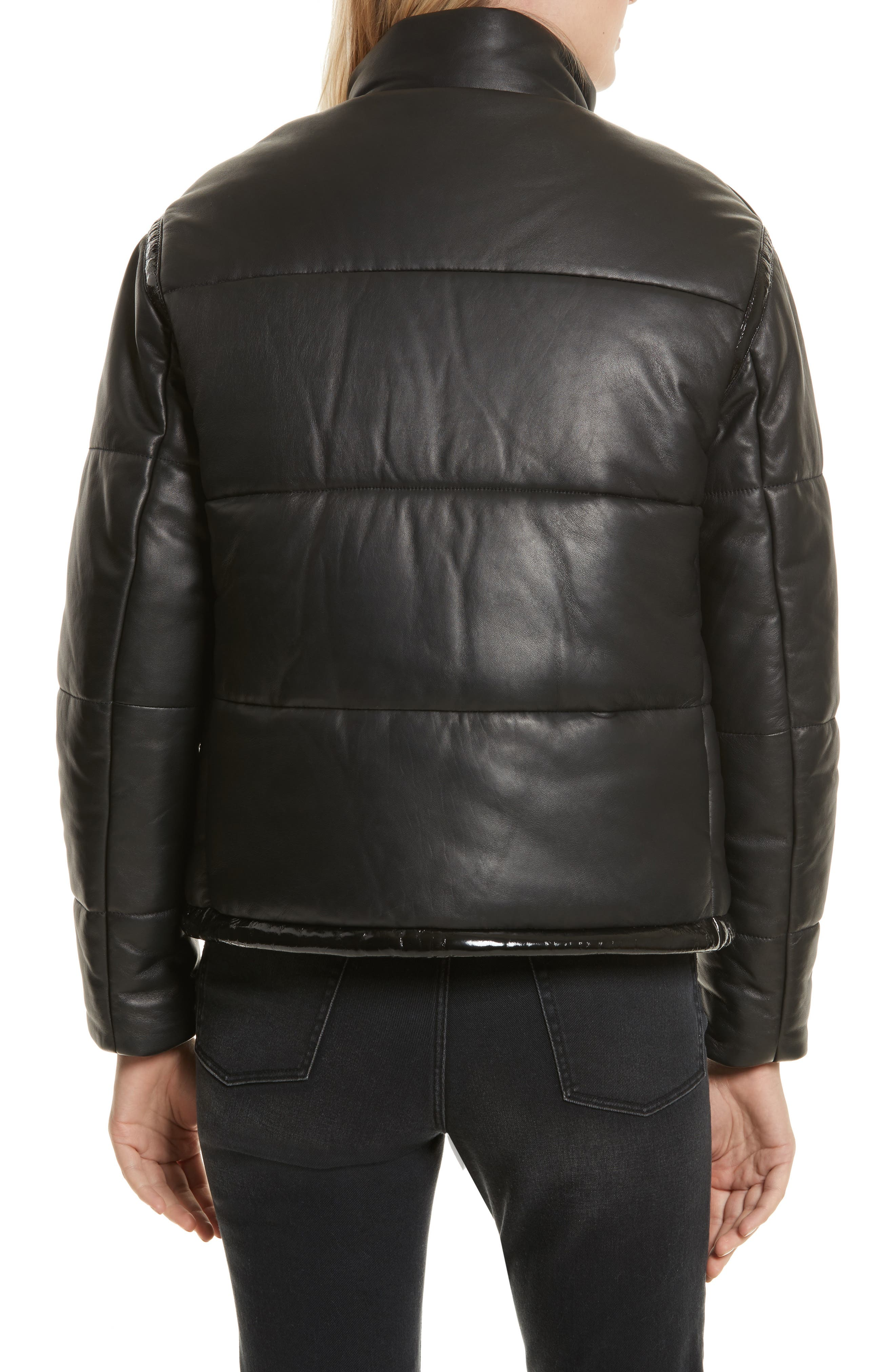 Power Puff Leather Jacket,                             Alternate thumbnail 2, color,                             001