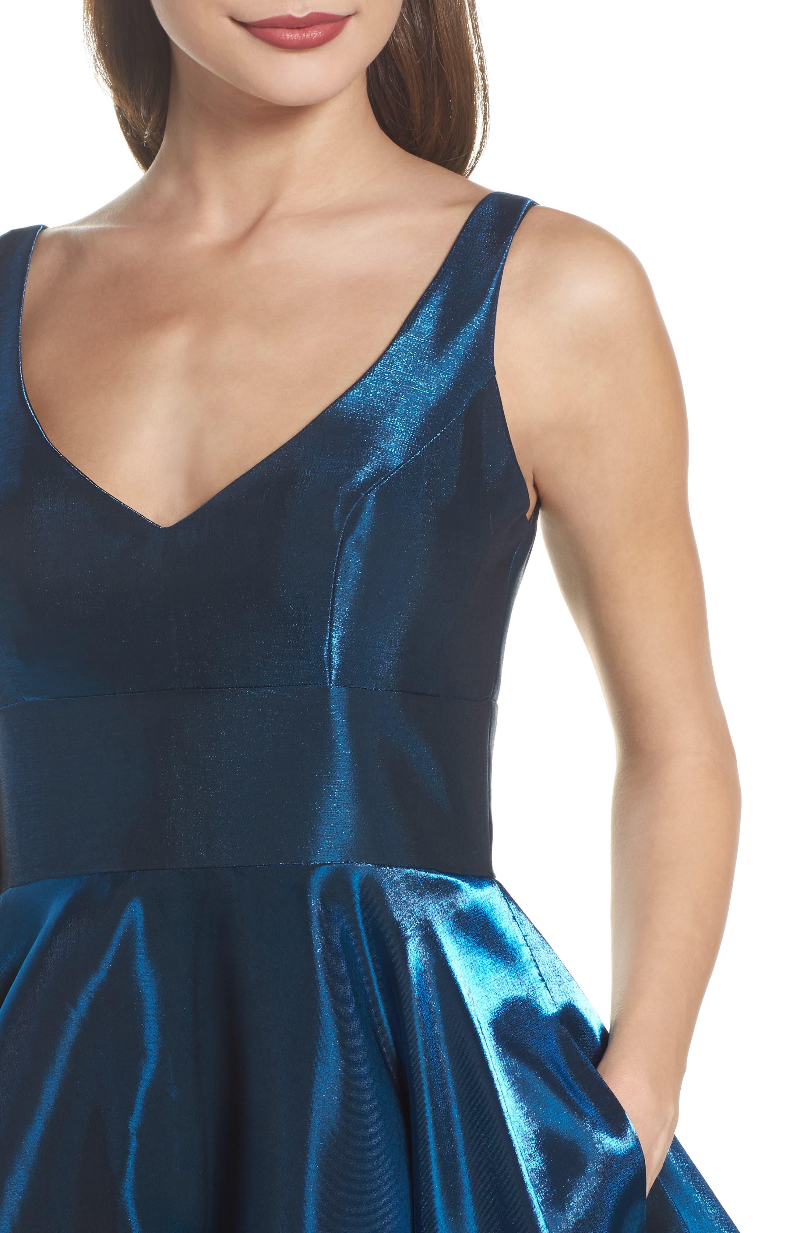 Shimmer Fit & Flare Dress,                             Alternate thumbnail 4, color,                             400