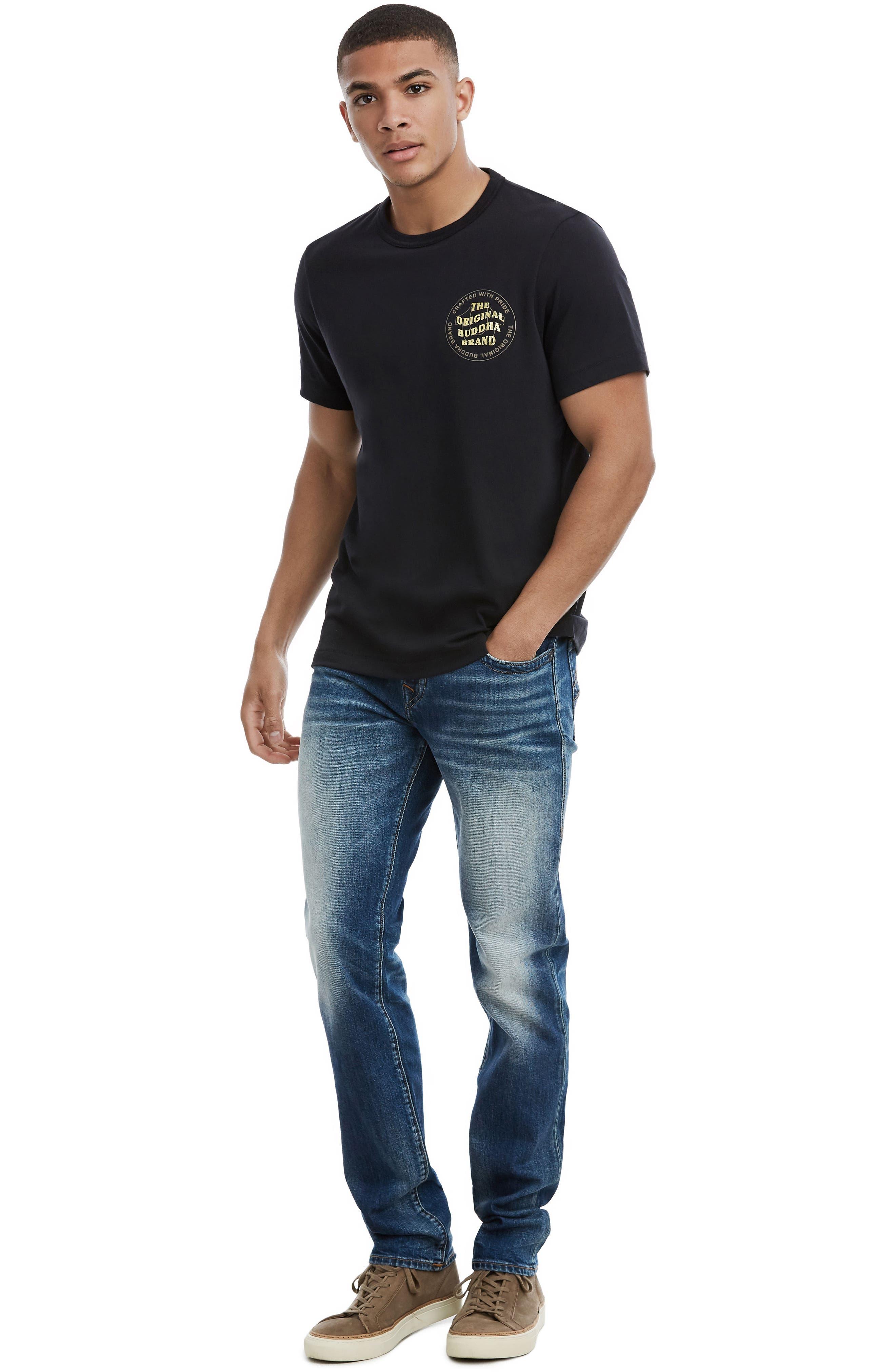 Wavy Buddha Brand T-Shirt,                             Alternate thumbnail 3, color,                             TRUE BLACK