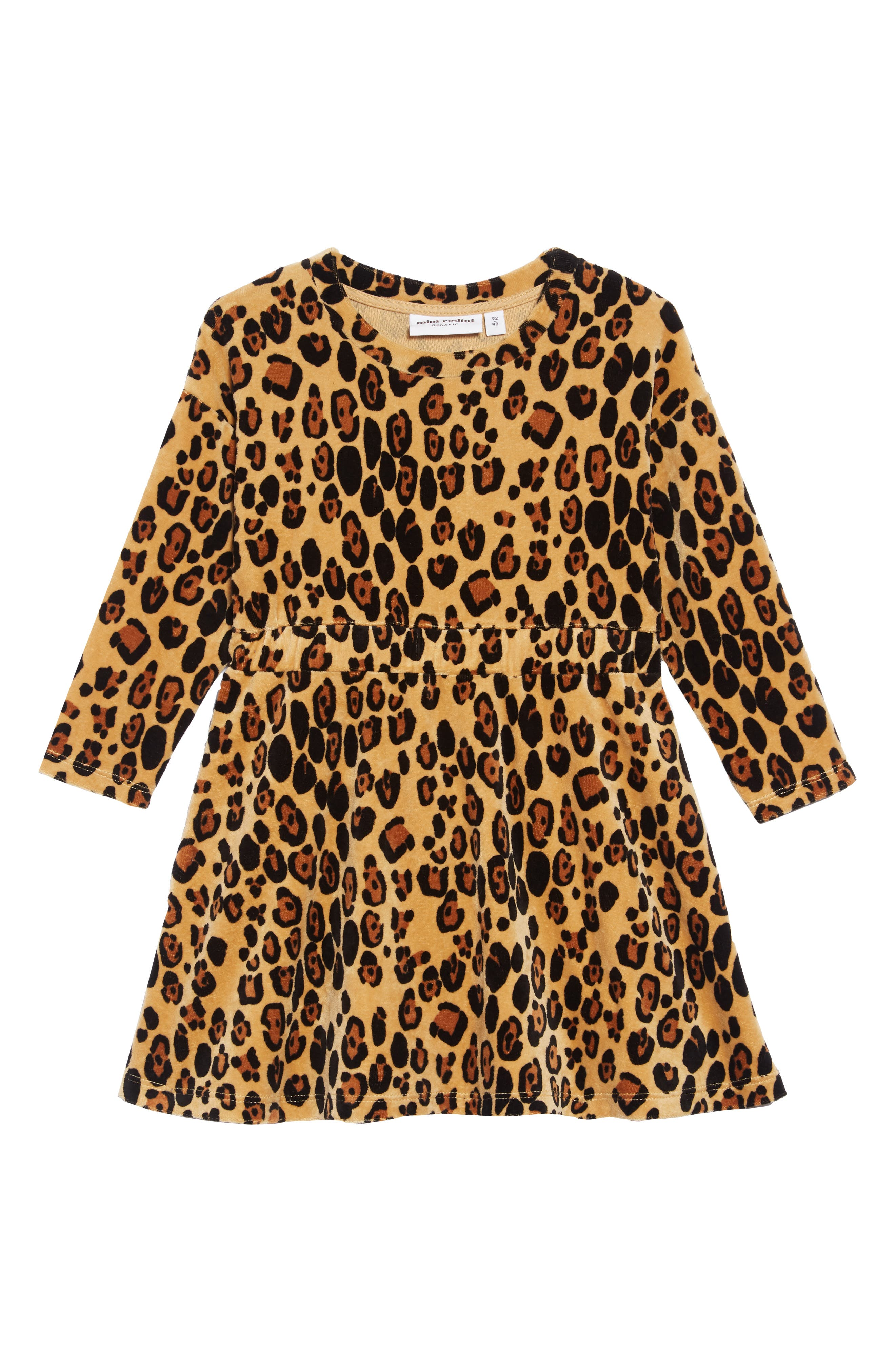 Leopard Organic Cotton Velour Dress,                             Main thumbnail 1, color,                             BEIGE