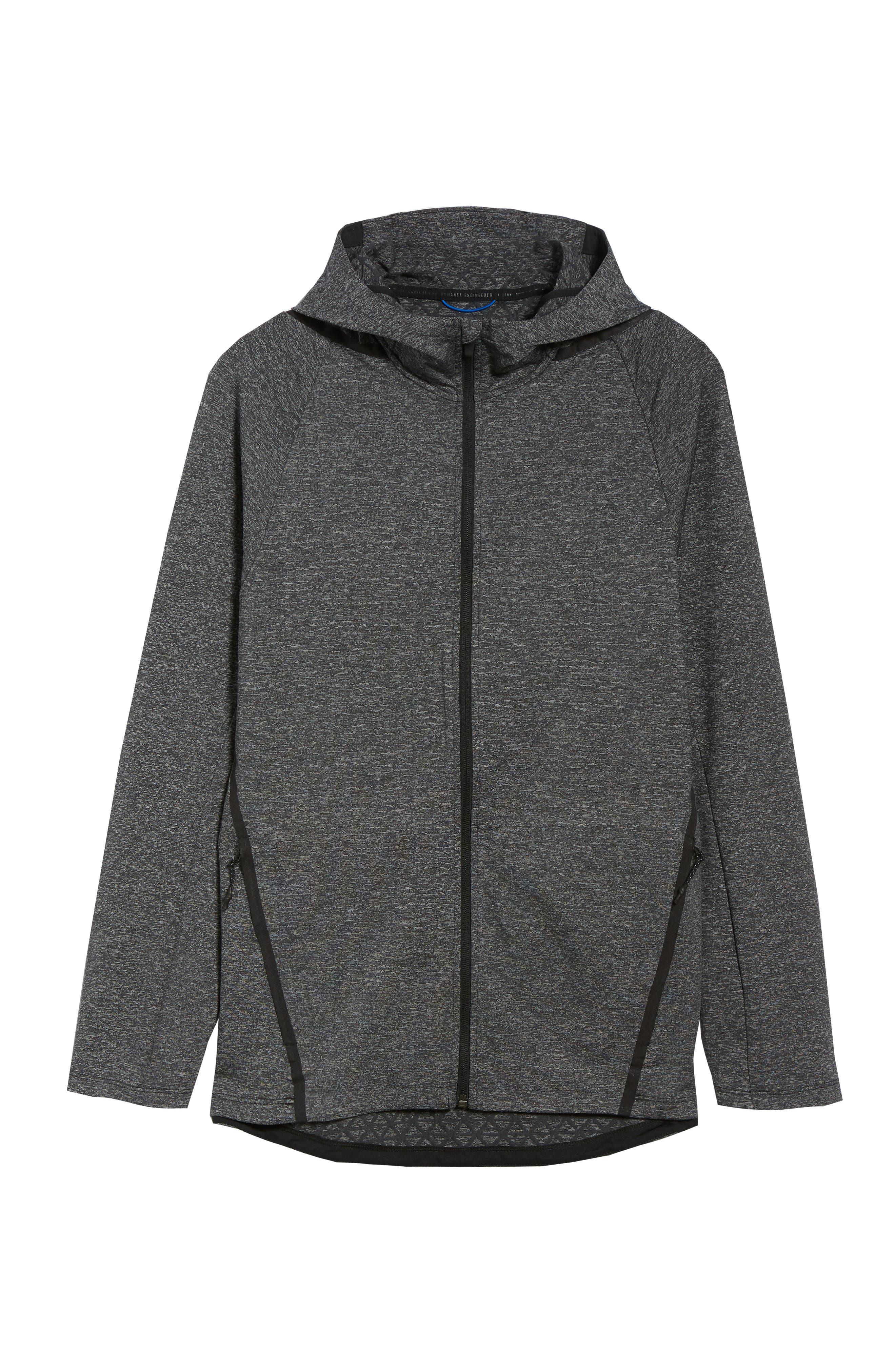 Dry Training Zip Hoodie,                             Alternate thumbnail 6, color,                             BLACK/ BLACK
