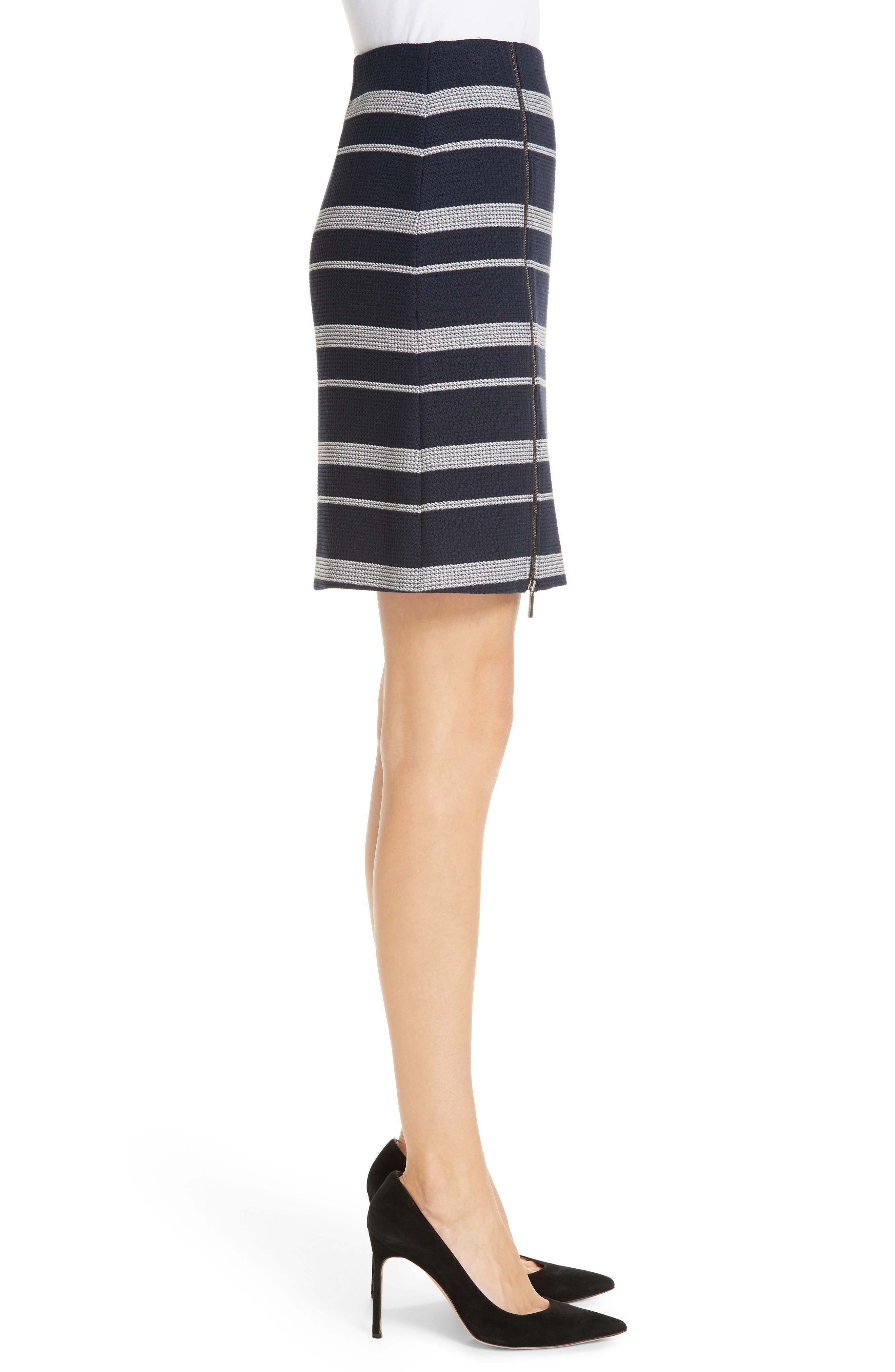Stripe Jacquard Skirt,                             Alternate thumbnail 3, color,                             NAVY FANTASY
