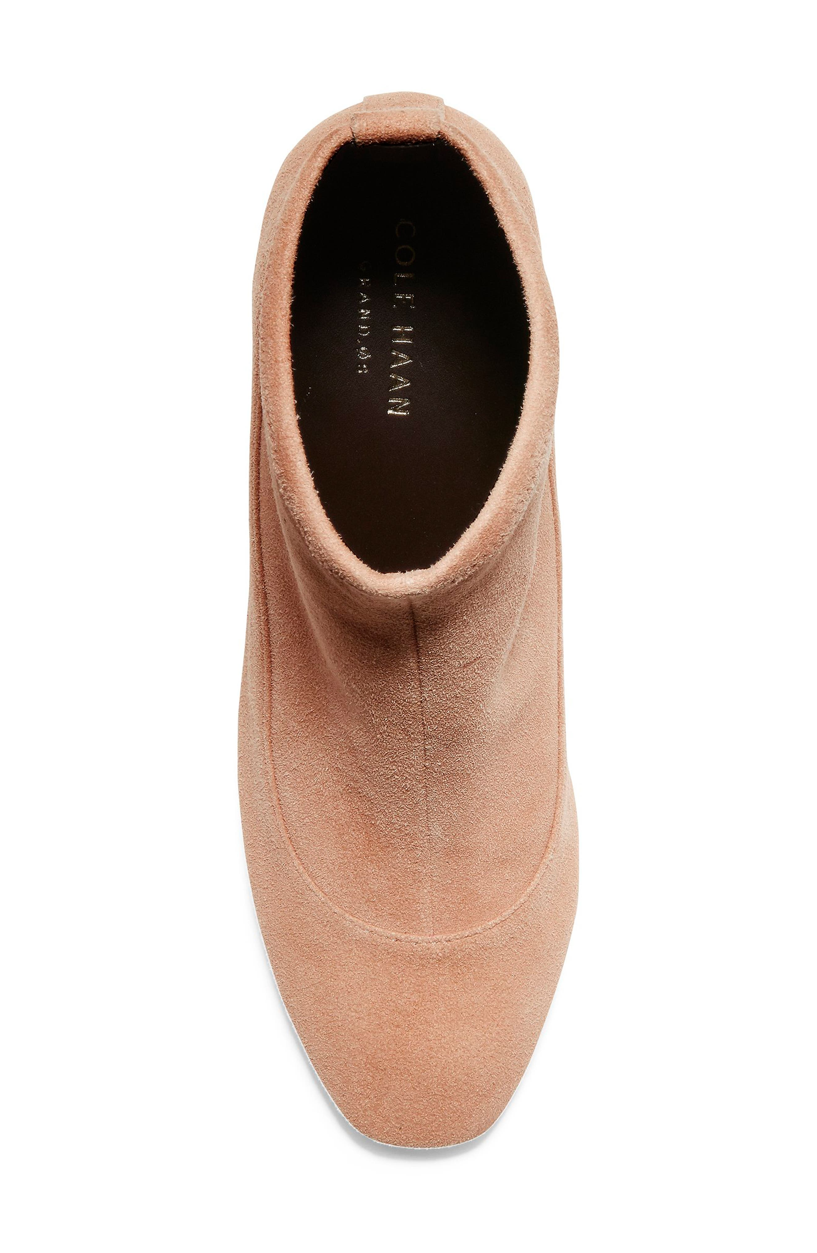 Laree Stretch Bootie,                             Alternate thumbnail 5, color,                             MOCHA STRETCH SUEDE