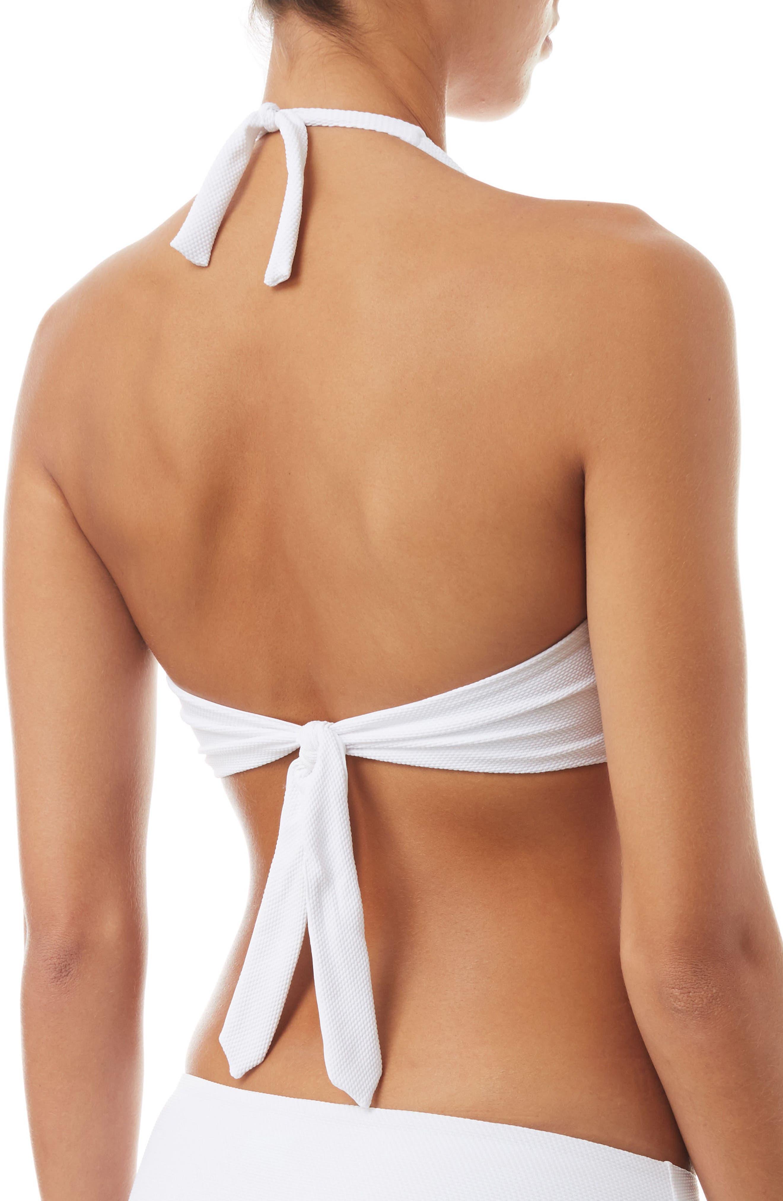 Africa Halter Bikini Top,                             Alternate thumbnail 2, color,                             PIQUE WHITE