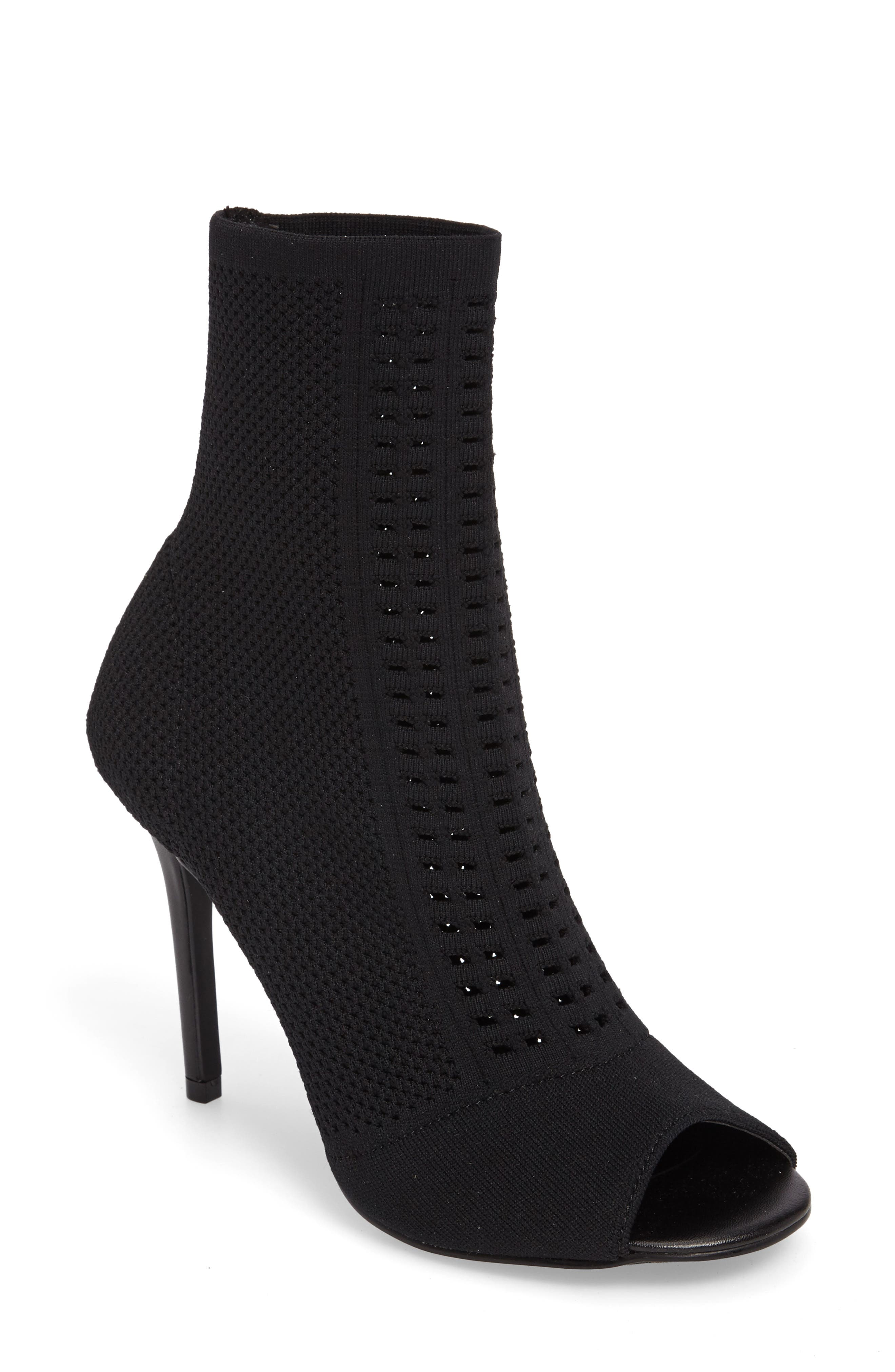 Rebellious Knit Peep Toe Bootie,                             Main thumbnail 1, color,                             001