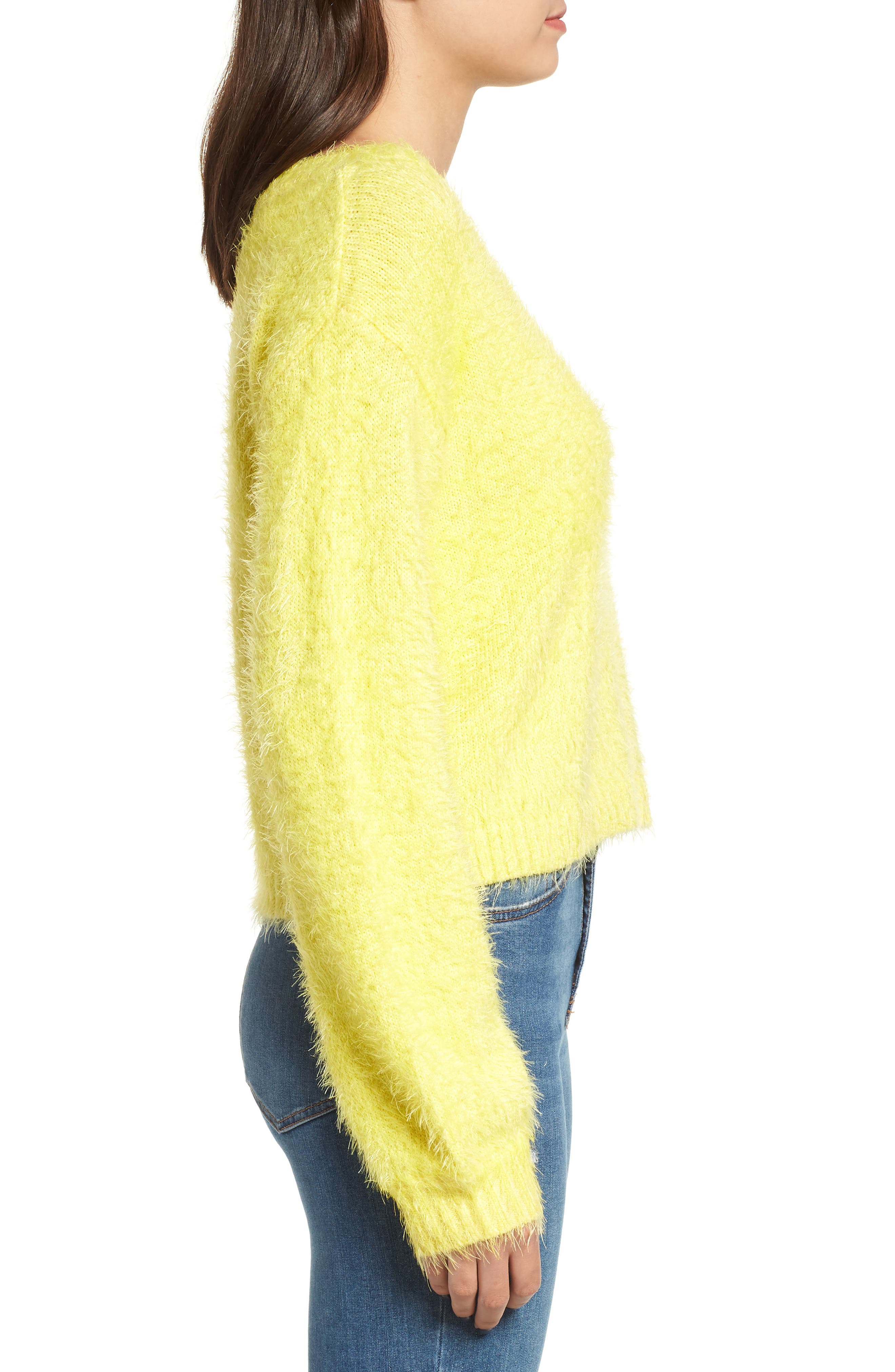 Clover Fields Chenille Sweater,                             Alternate thumbnail 3, color,                             MARIGOLD