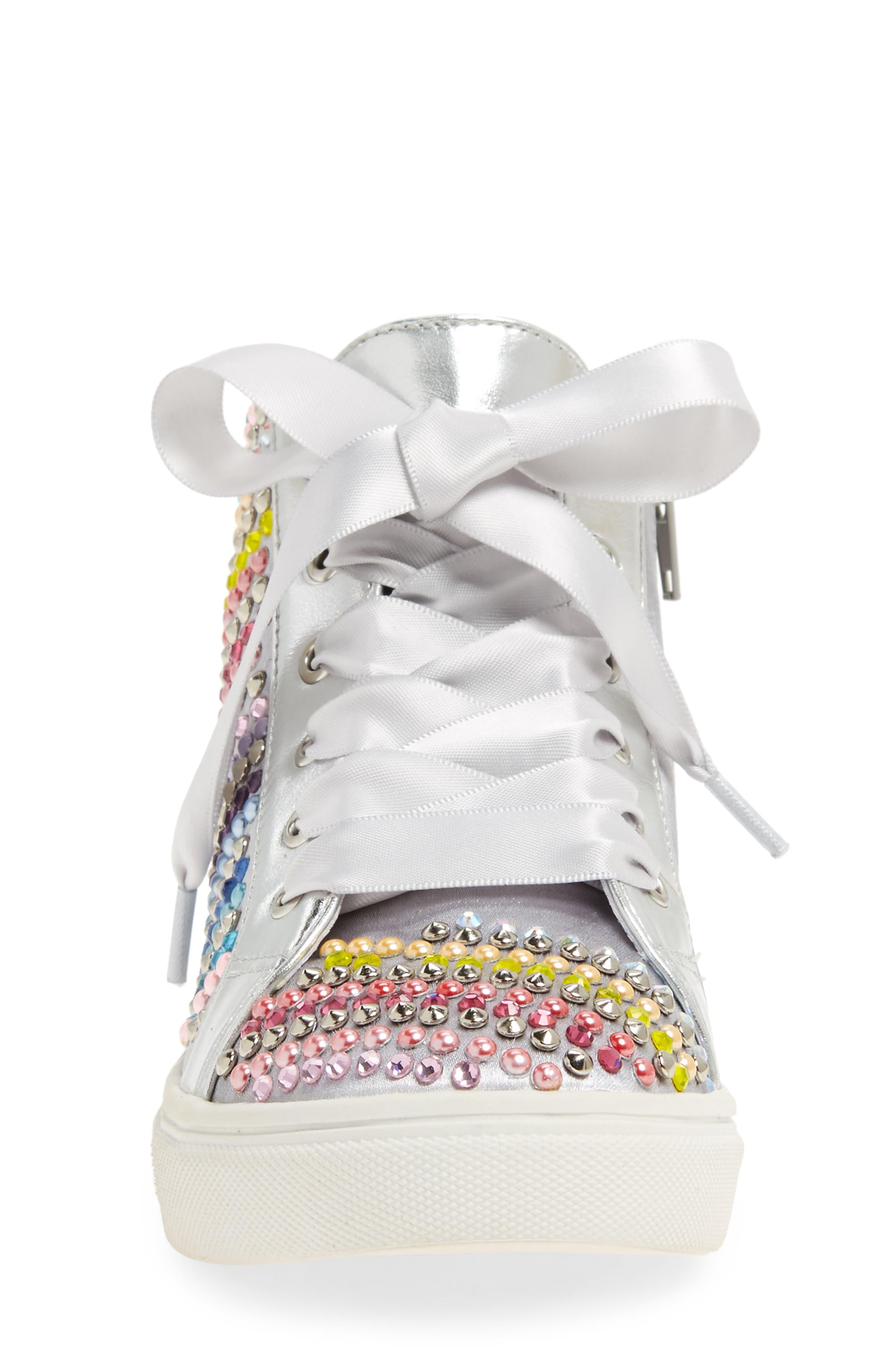 Rainey Rainbow Studded High Top Sneaker,                             Alternate thumbnail 4, color,                             040