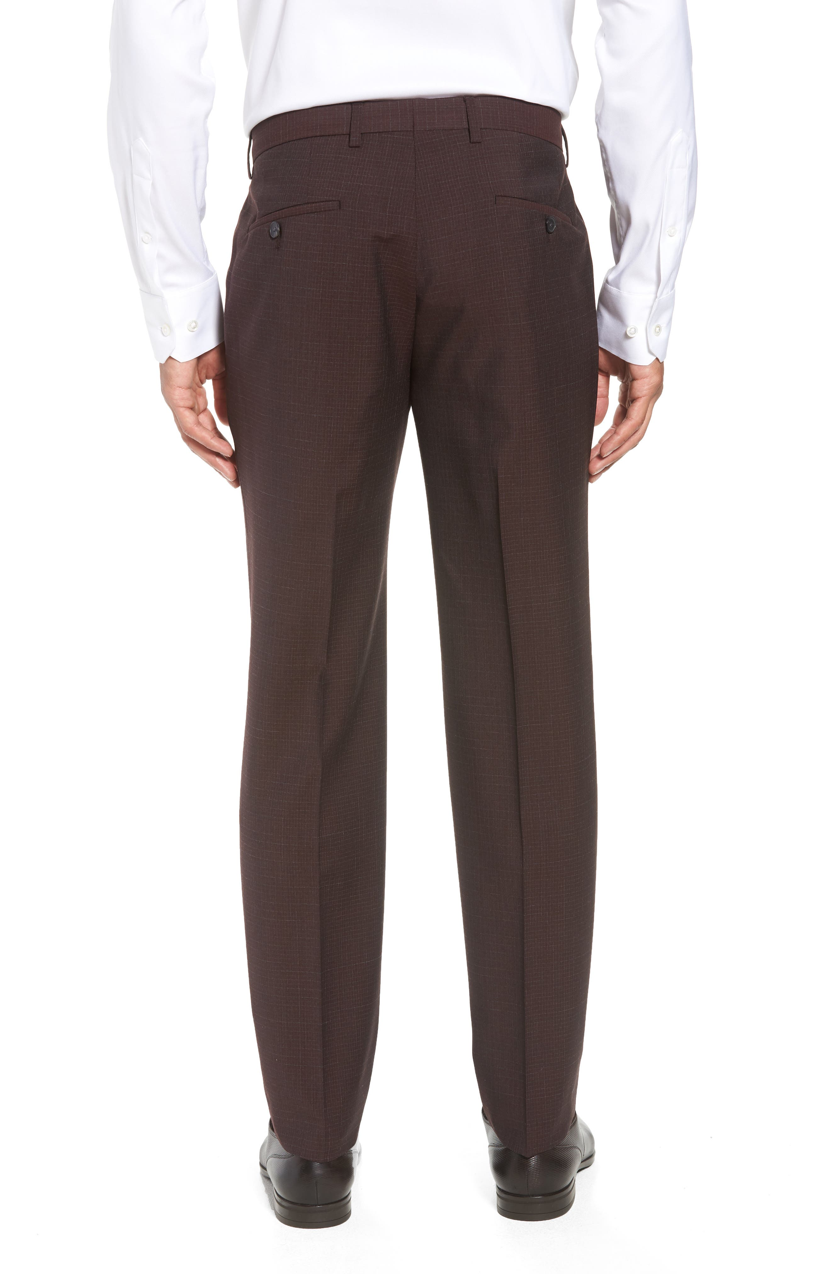 Genesis Flat Front Check Wool Trousers,                             Alternate thumbnail 2, color,                             MAROON