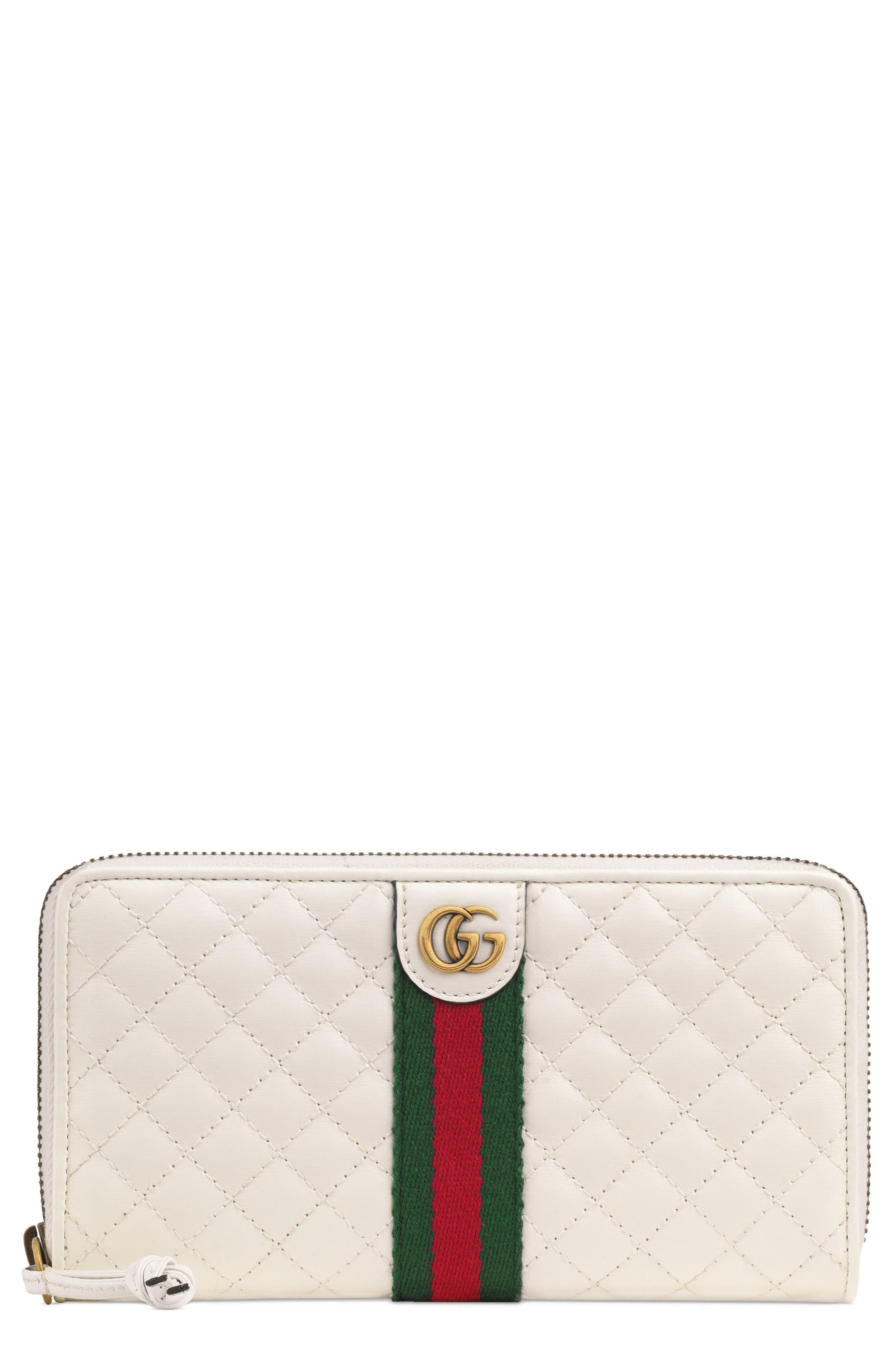 Quilted Leather Zip Around Continental Wallet,                             Main thumbnail 1, color,                             OFF WHITE/ VERT/ RED