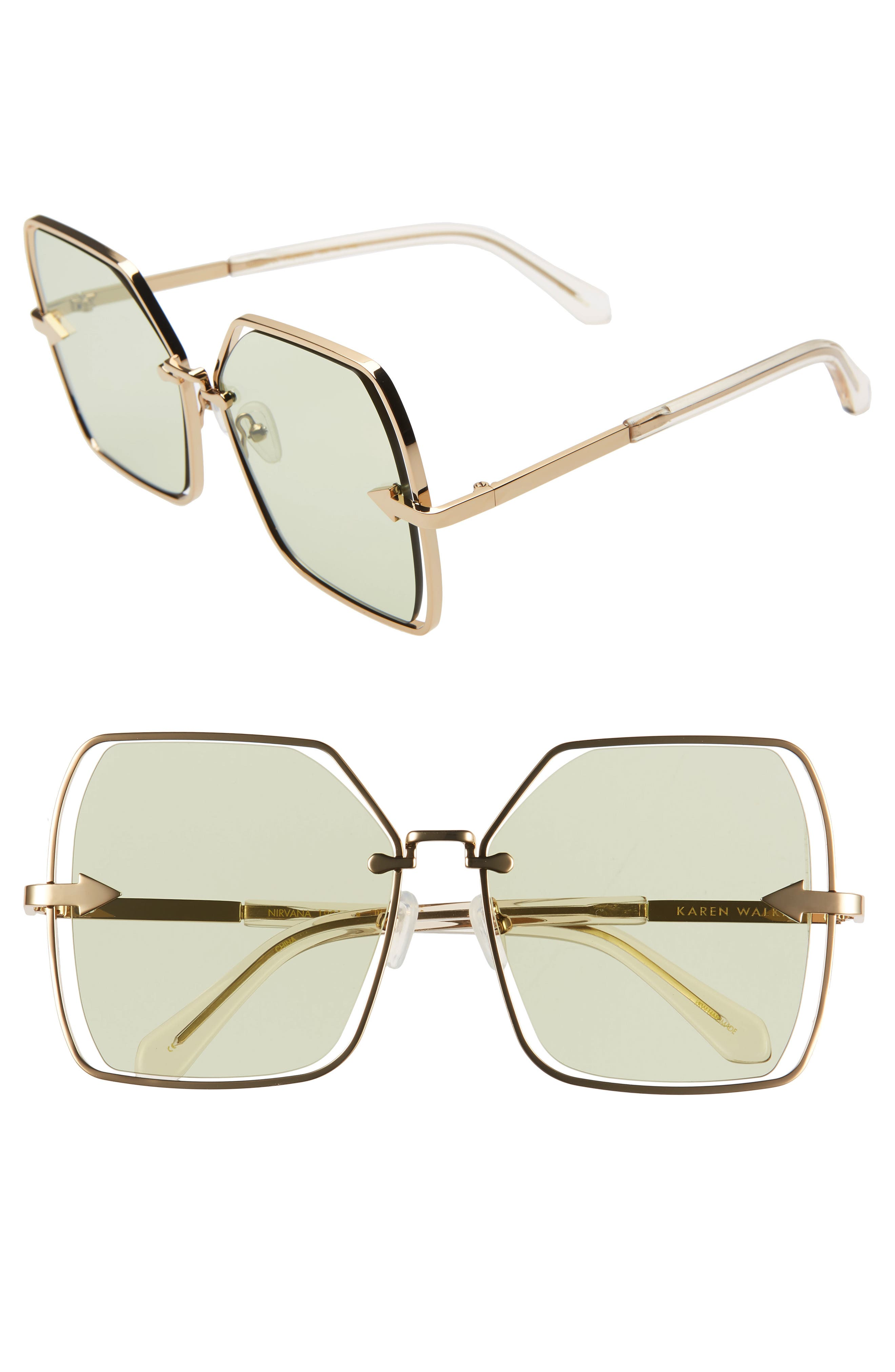 Karen Walker Sunglasses NIRVANA 58MM SQUARE BUTTERFLY SUNGLASSES - GOLD/ SAGE TINT