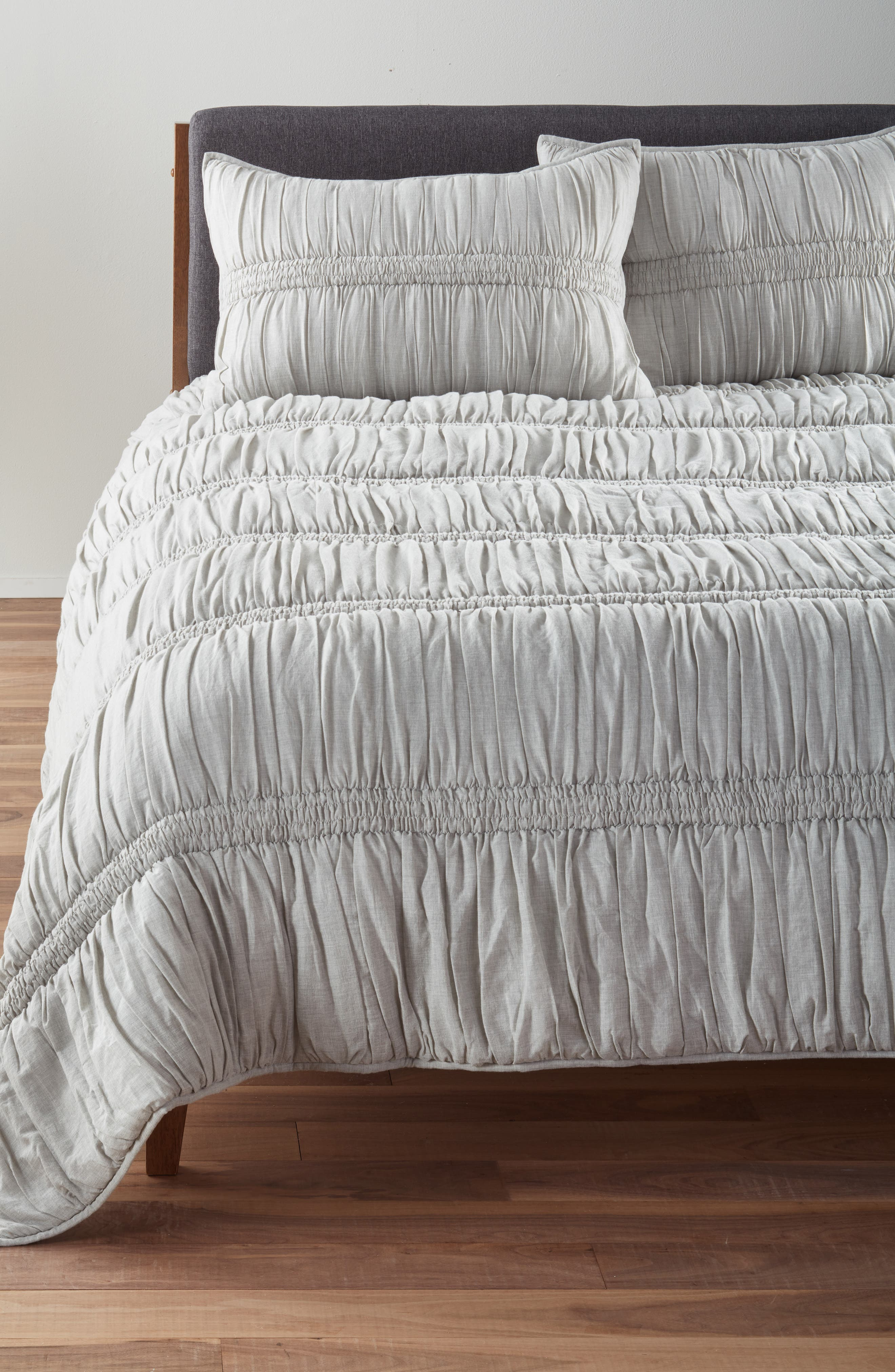 Heathered Ruched Comforter,                             Main thumbnail 1, color,                             020