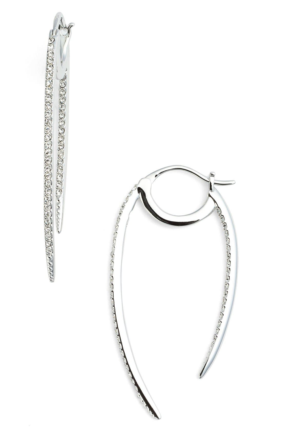 'Crescent' Linear Hoop Earrings,                         Main,                         color, SILVER