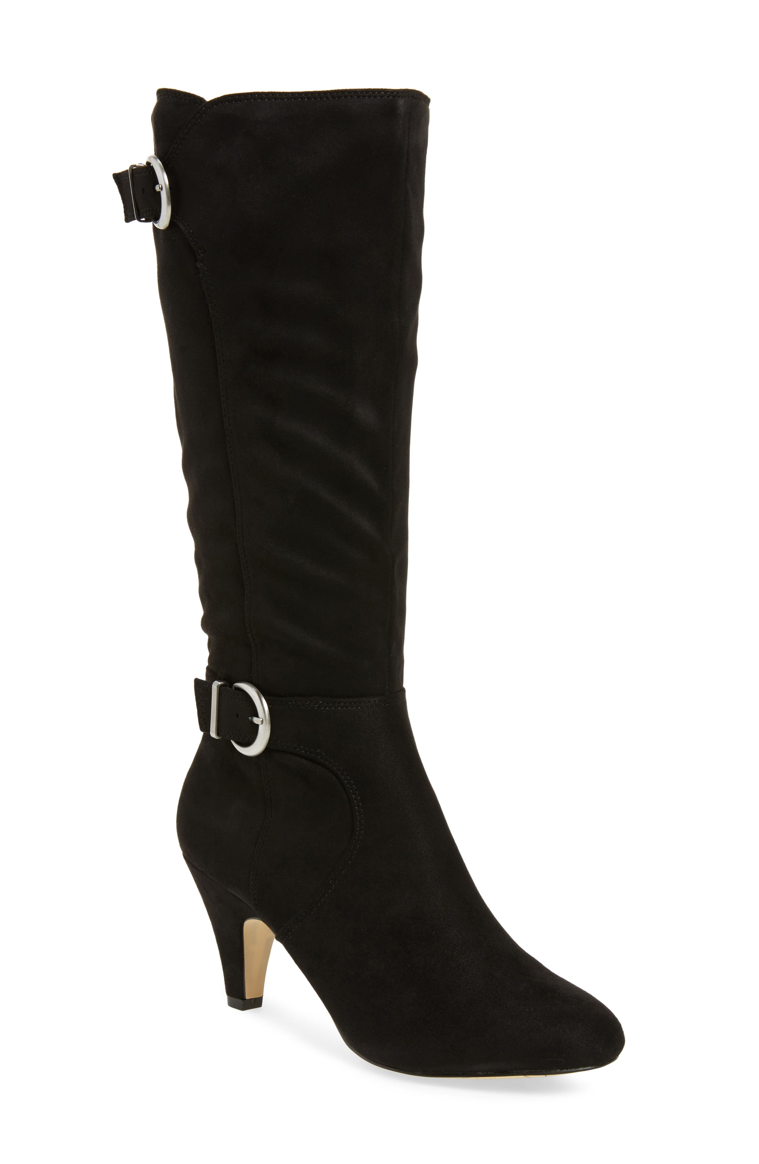 Toni II Knee High Boot,                         Main,                         color, BLACK SUEDE