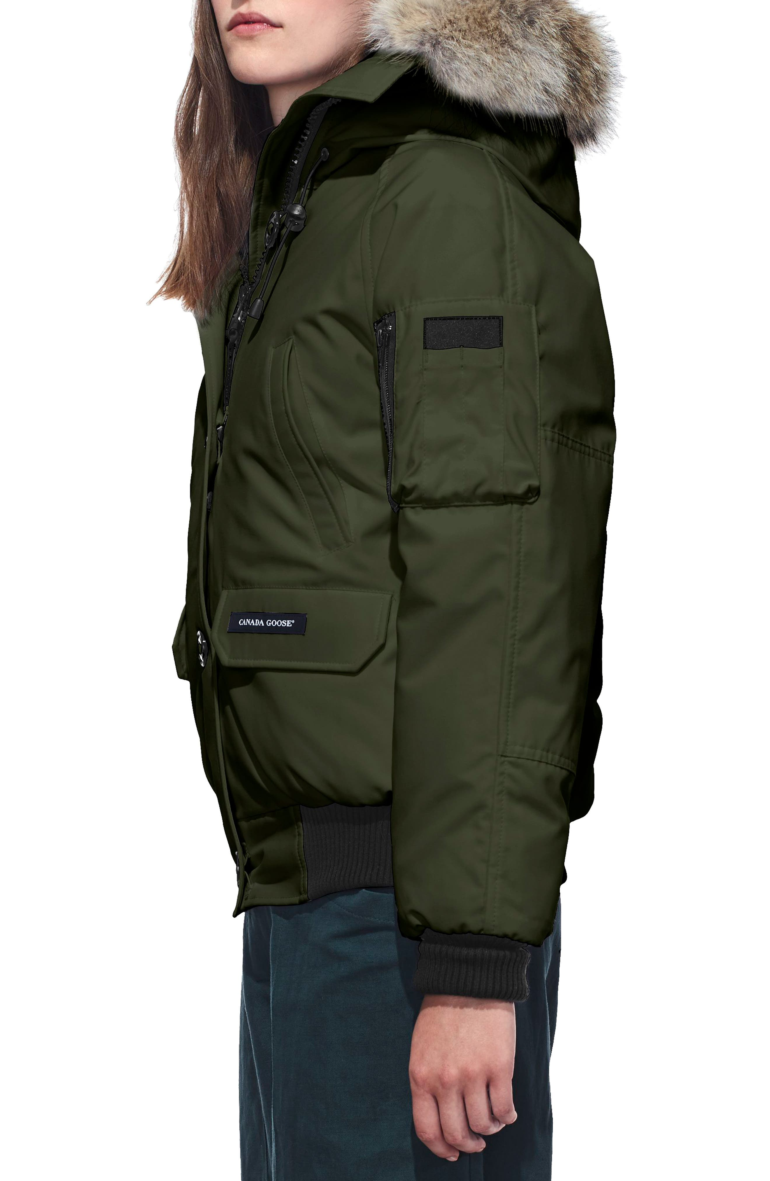 Chilliwack Hooded Down Bomber Jacket with Genuine Coyote Fur Trim,                             Alternate thumbnail 3, color,                             MILITARY GREEN
