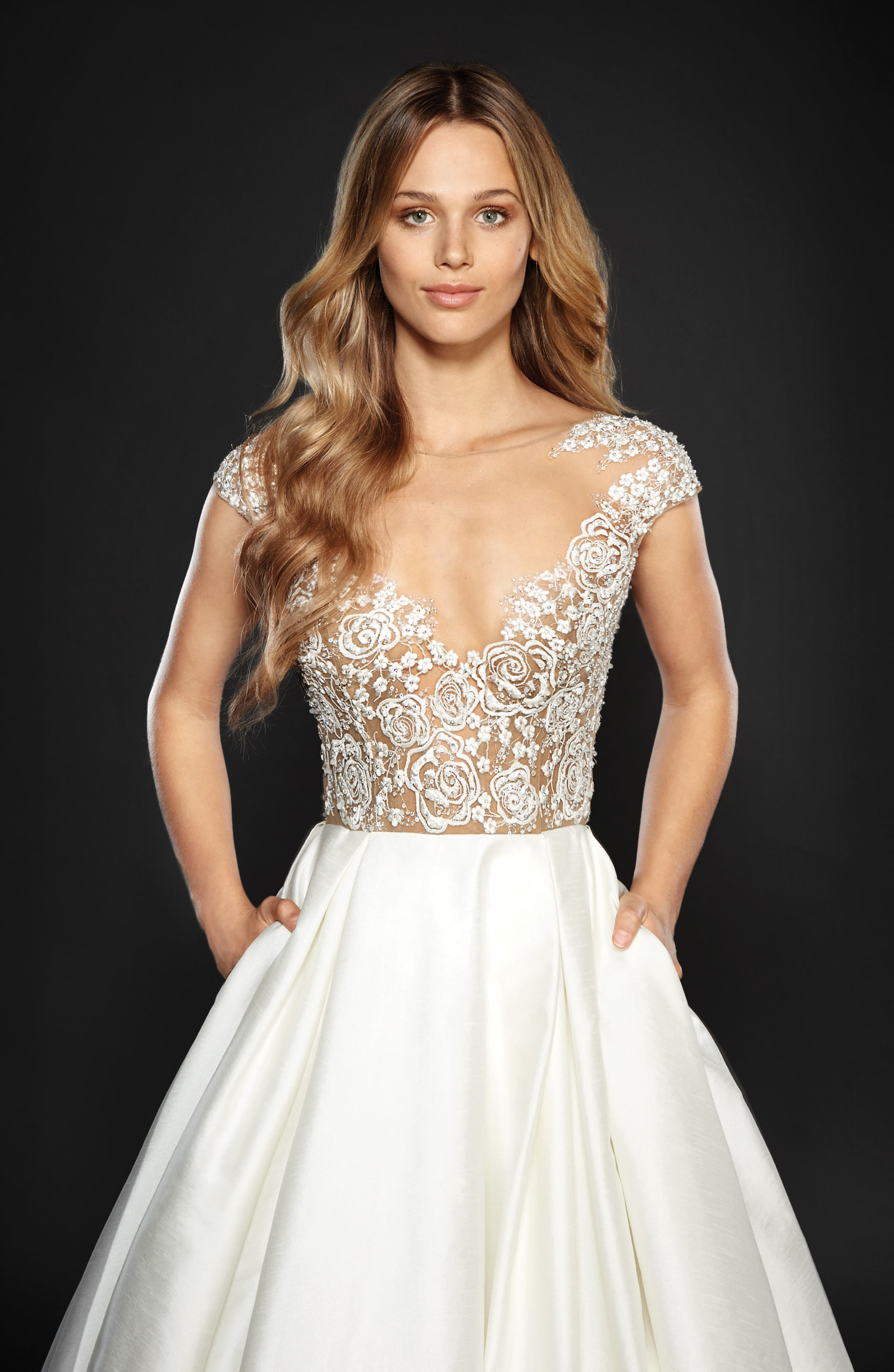 Chandler Floral Embroidered Illusion Ballgown,                             Alternate thumbnail 3, color,                             IVORY